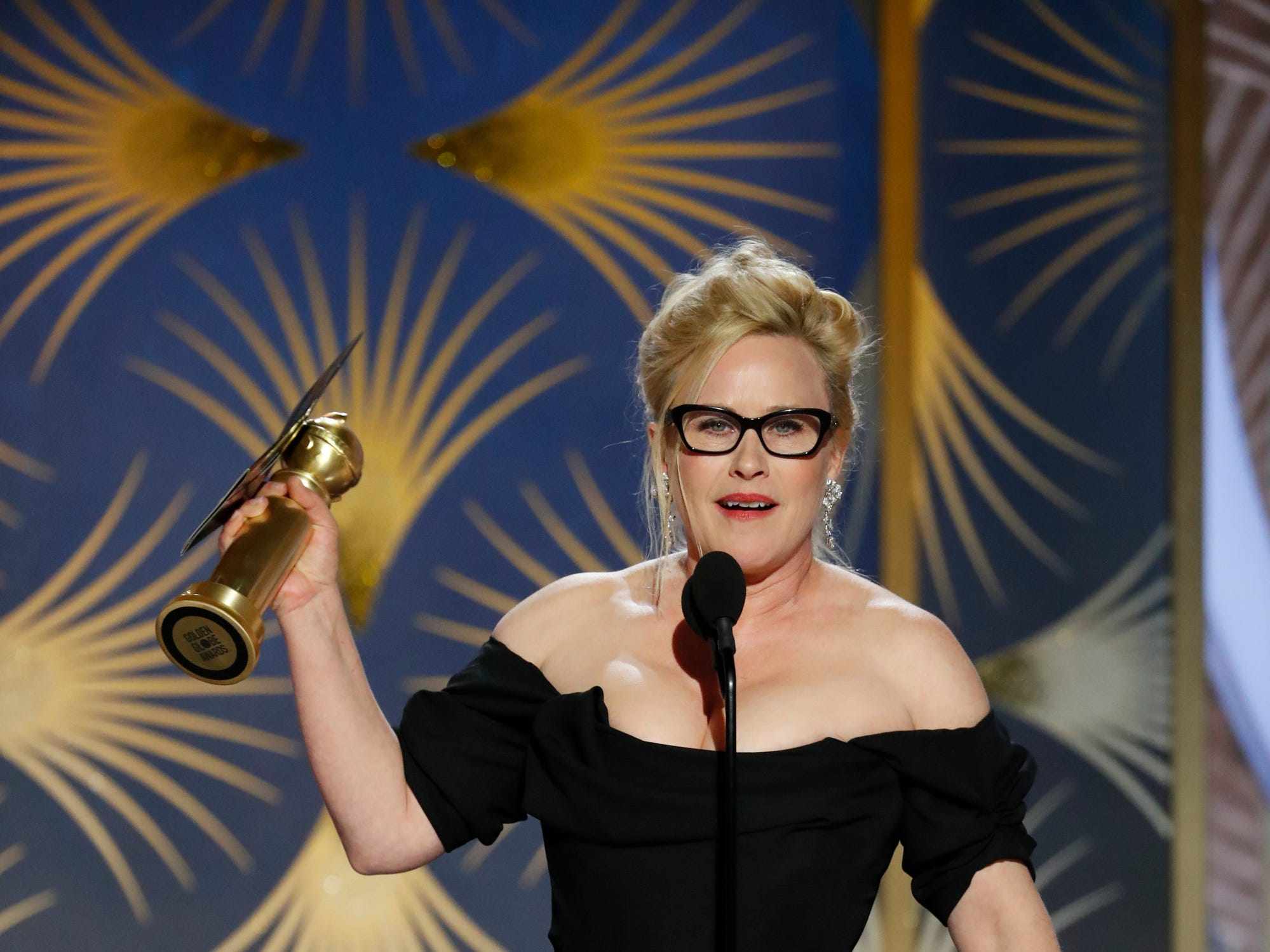 This image released by NBC shows Patricia Arquette accepting the award for best actress in a limited series or motion picture made for TV during the 76th Annual Golden Globe Awards at the Beverly Hilton Hotel.
