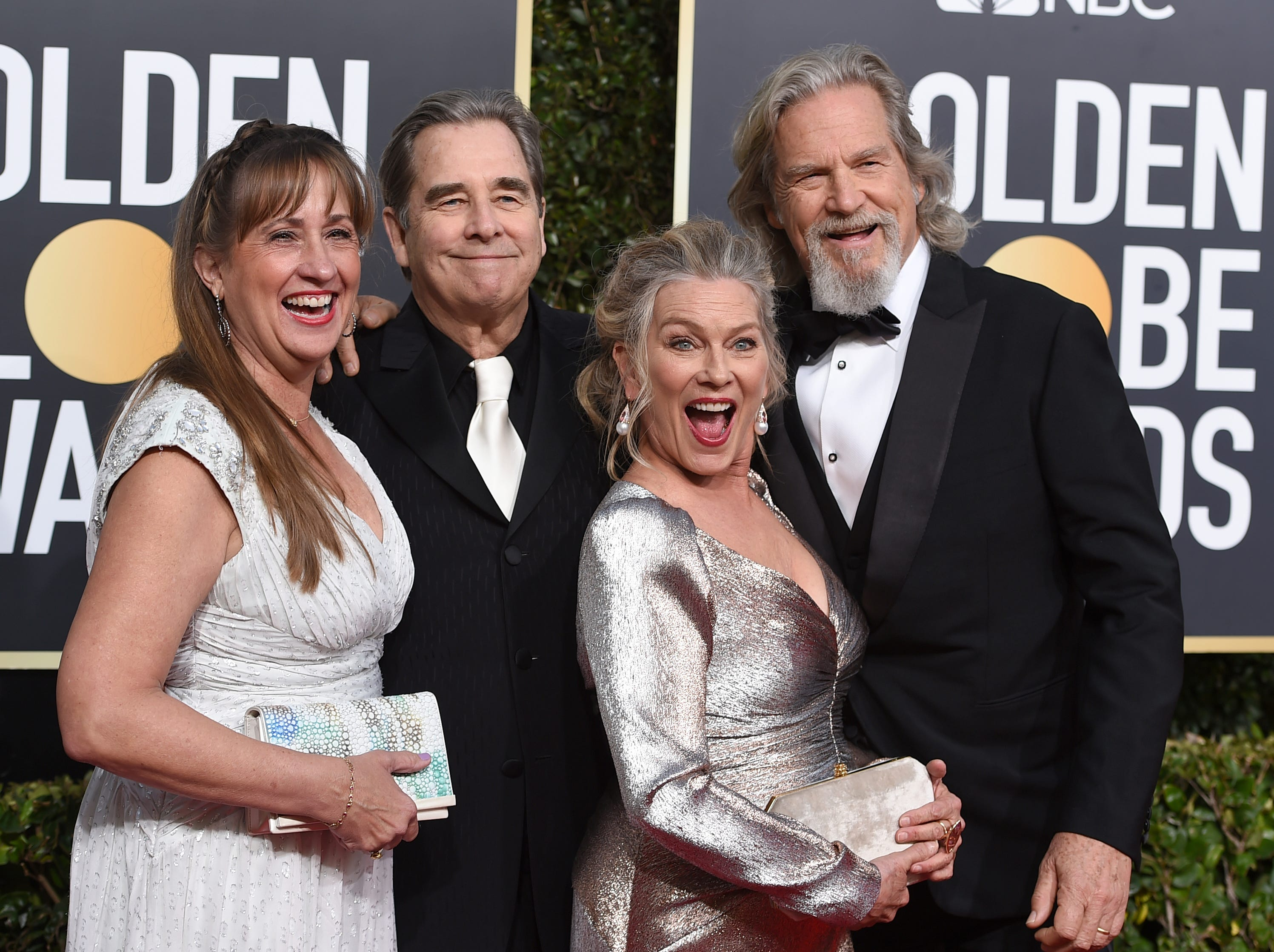 Wendy Treece, from left, Beau Bridges, Jeff Bridges and Susan Geston arrive at the 76th annual Golden Globe Awards at the Beverly Hilton Hotel.