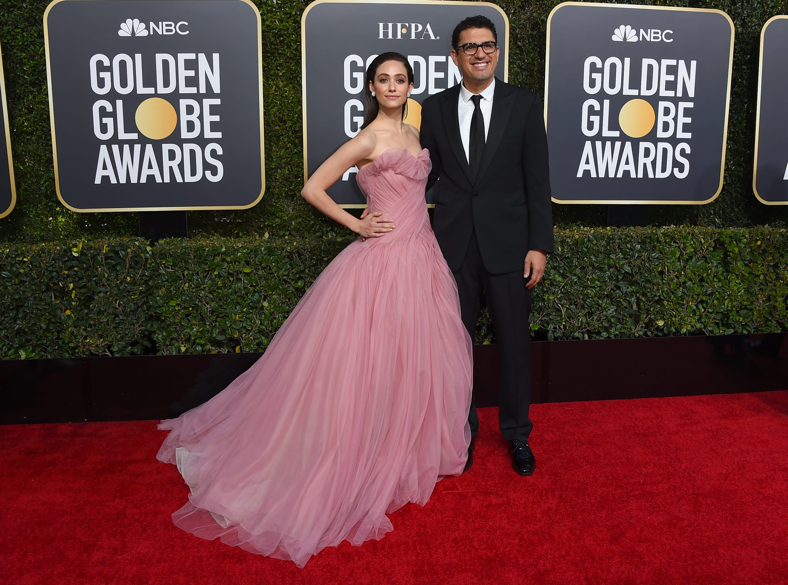 Emmy Rossum, Sam Esmail arrives at the 76th annual Golden Globe Awards at the Beverly Hilton Hotel.