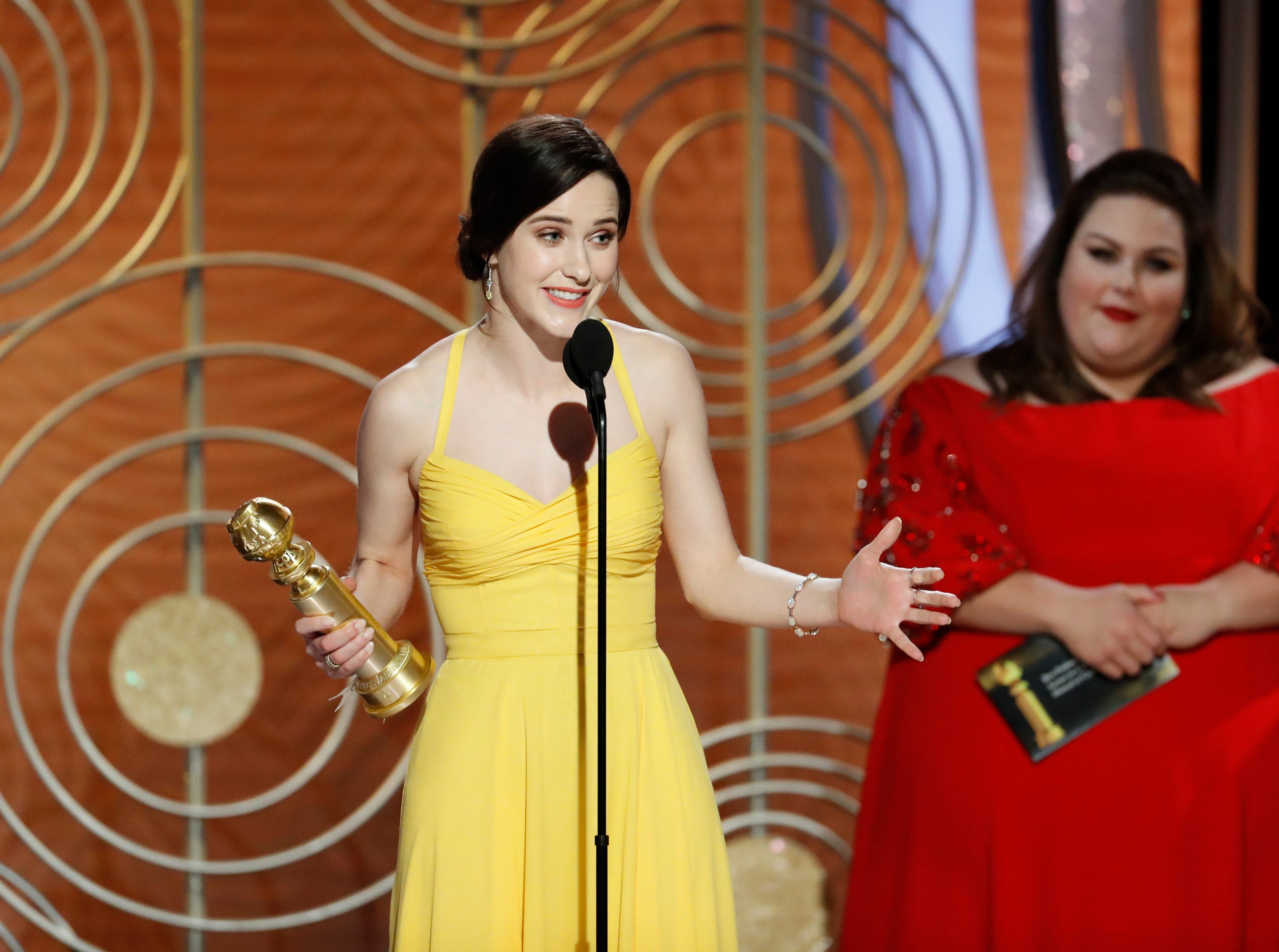 "This image released by NBC shows Rachel Brosnahan accepting the award for best actress in a musical or comedy series for ""The Marvelous Mrs. Maisel"" during the 76th Annual Golden Globe Awards."