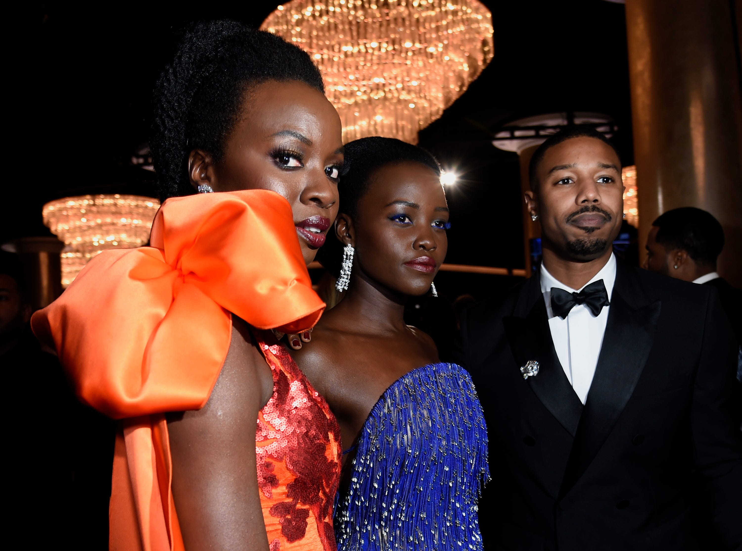 Danai Gurira, from left, Lupita Nyong'o and Michael B. Jordan attend the 76th annual Golden Globe Awards at the Beverly Hilton Hotel.