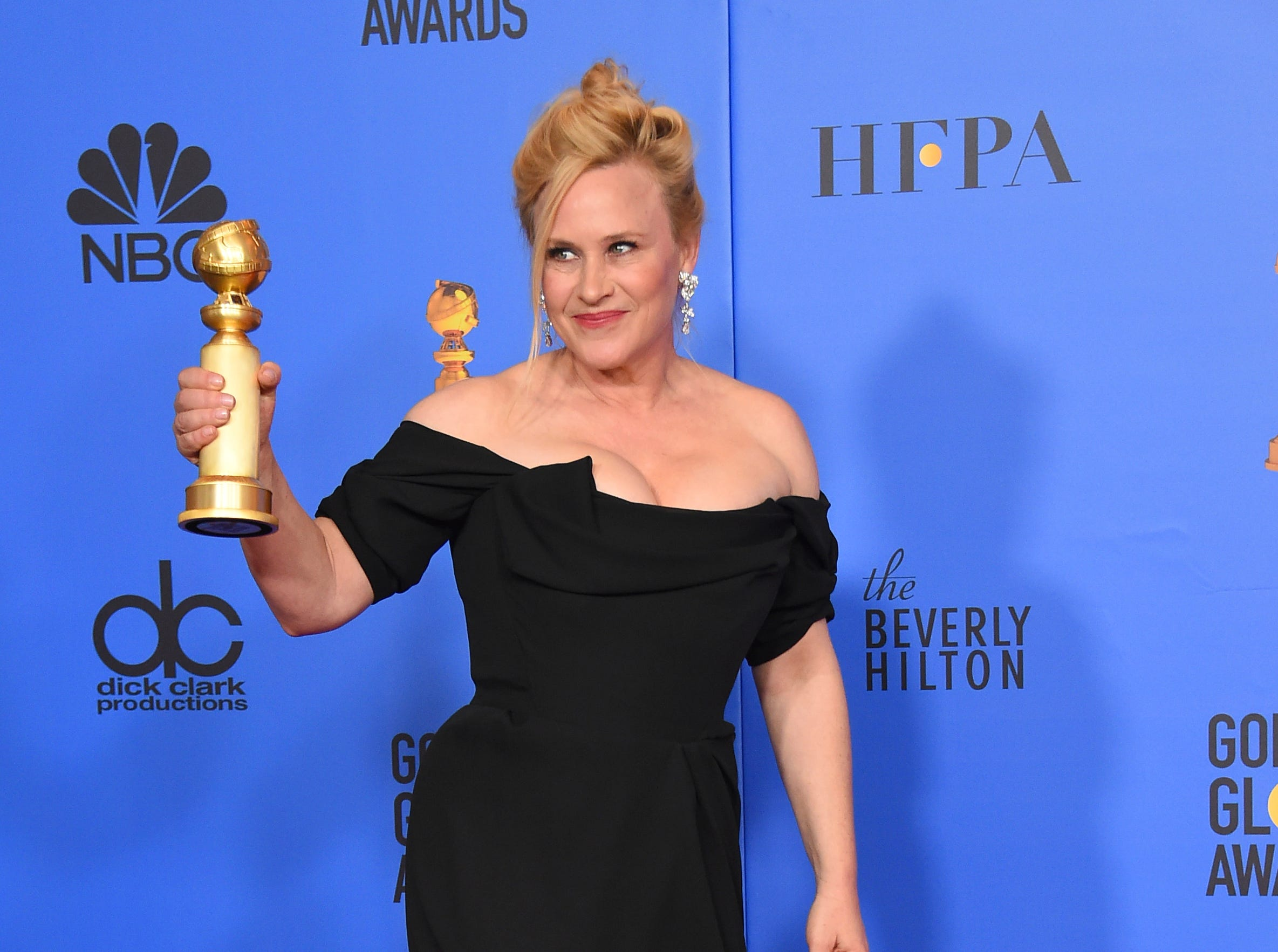"Patricia Arquette poses in the press room with the award for best performance by an actress in a limited series or a motion picture made for television for ""Escape at Dannemora"" at the 76th annual Golden Globe Awards at the Beverly Hilton Hotel."