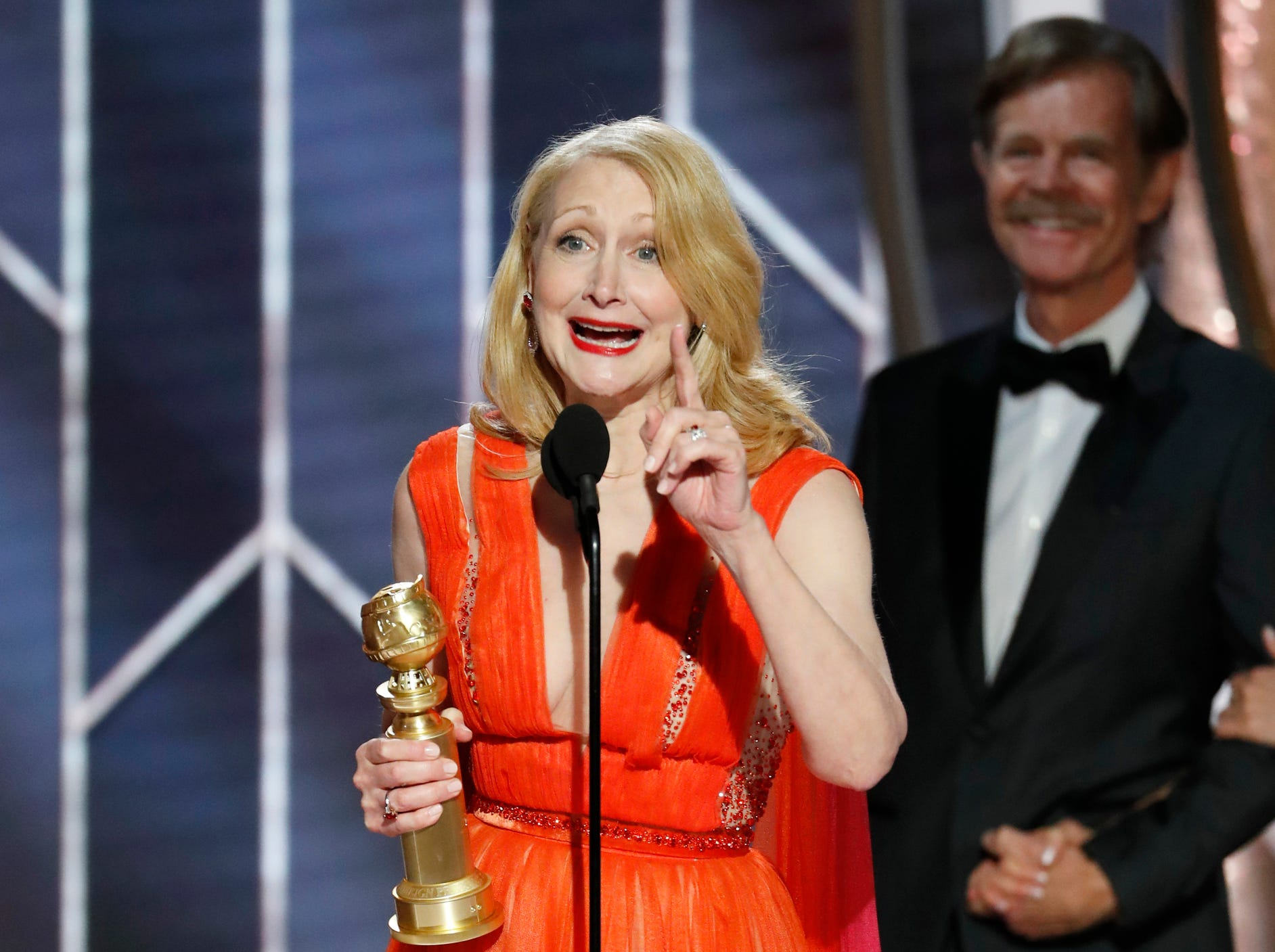 "This image released by NBC shows Patricia Clarkson accepting the award for best supporting actress in a series, limited series of TV movie for her role in ""Sharp Objects"" during the 76th Annual Golden Globe Awards at the Beverly Hilton Hotel."