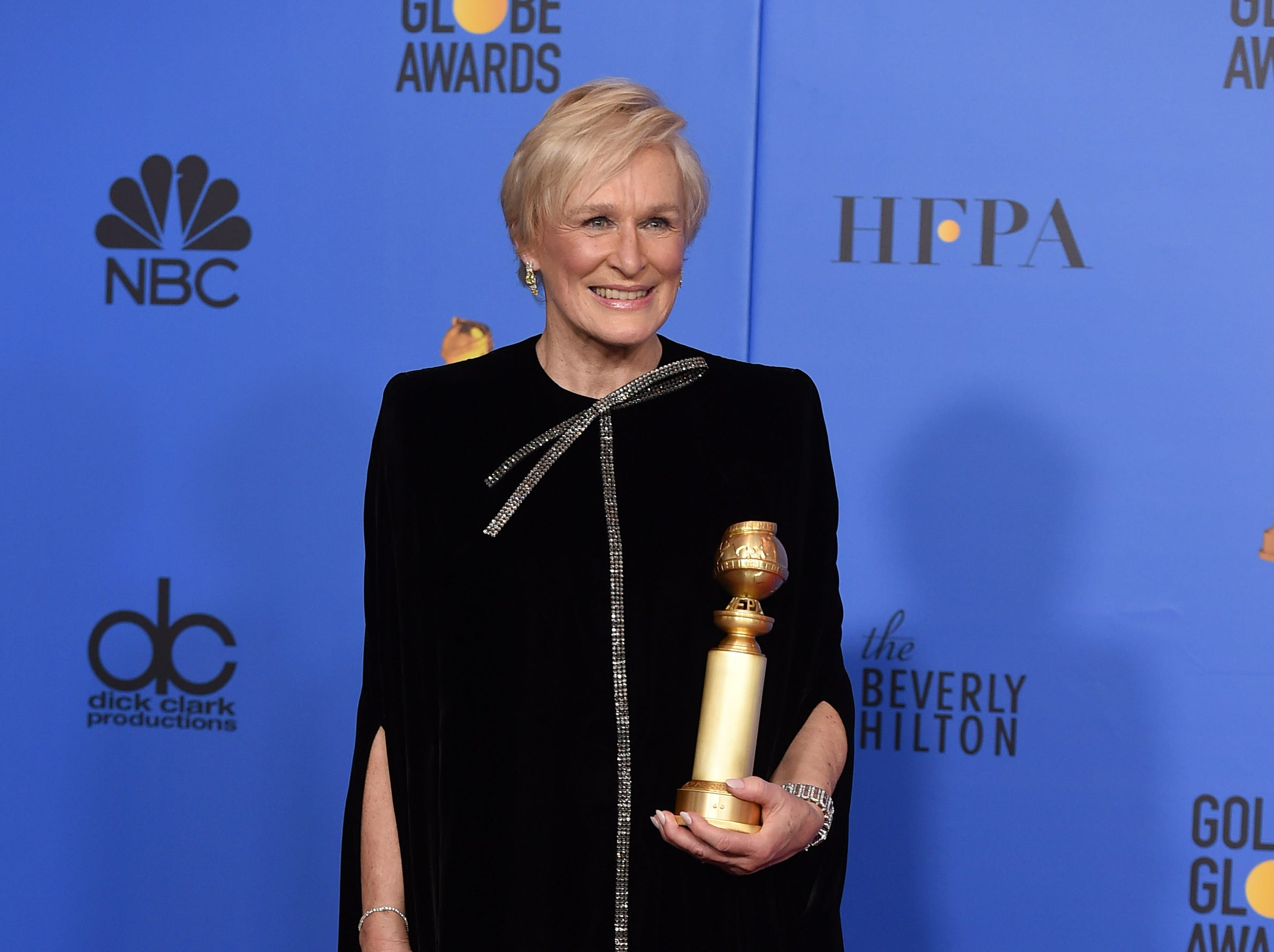 "Glenn Close poses in the press room with the award for best performance by an actress in a motion picture, drama for ""The Wife"" at the 76th annual Golden Globe Awards."