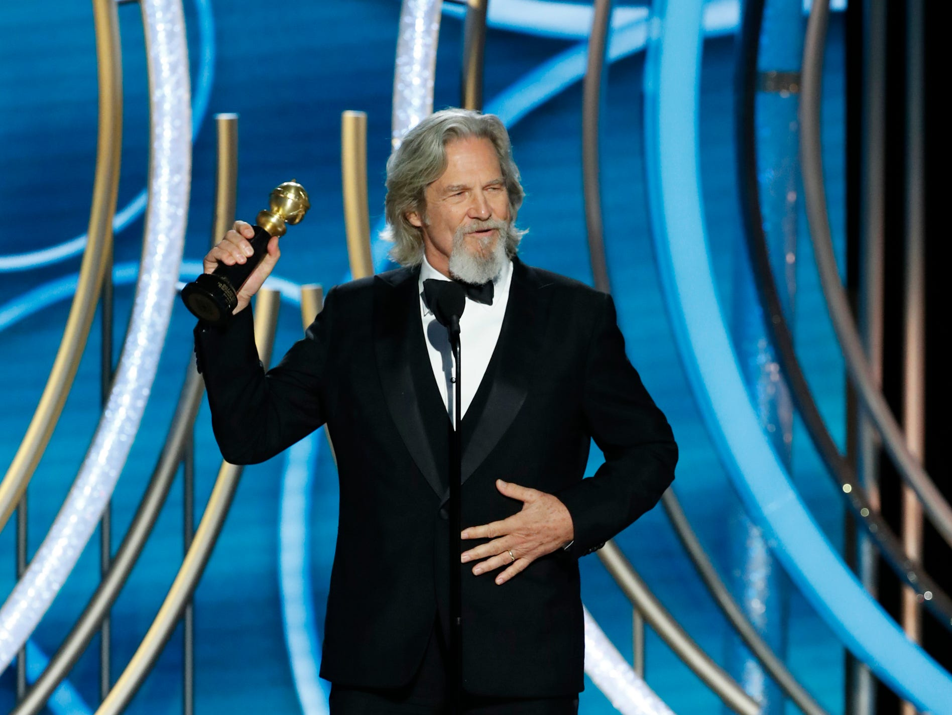 This image released by NBC shows Jeff Bridges accepting the Cecil B. Demille Award during the 76th Annual Golden Globe Awards at the Beverly Hilton Hotel.