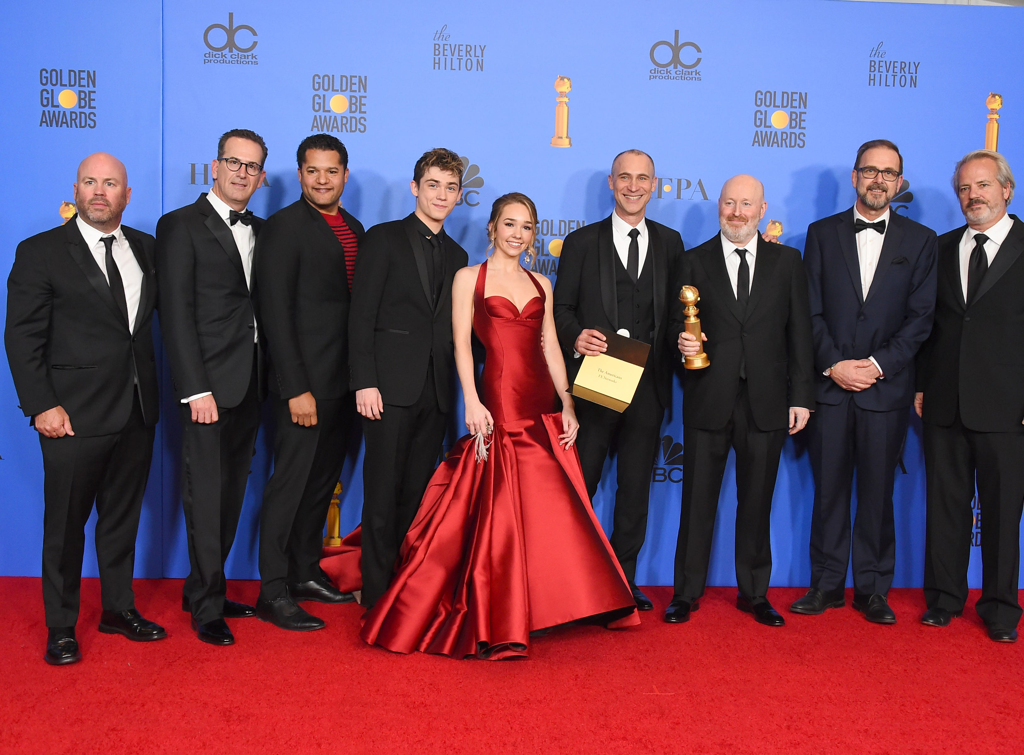 "The cast and crew of ""The Americans"" pose in the press room with the award for best television series, drama at the 76th annual Golden Globe Awards at the Beverly Hilton Hotel."