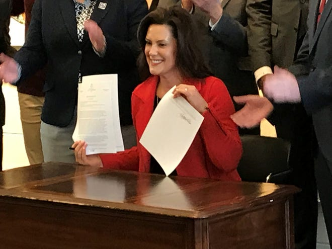 Gov. Gretchen Whitmer signed a non-discrimination edict with the goal of protecting state works from discrimination on the basis of their sexual orienation or gender in Ferndale Jan. 7, 2019.