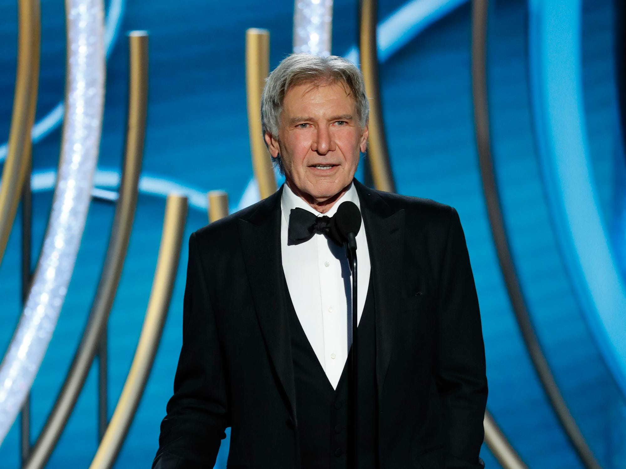 This image released by NBC shows presenter Harrison Ford during the 76th Annual Golden Globe Awards at the Beverly Hilton Hotel.
