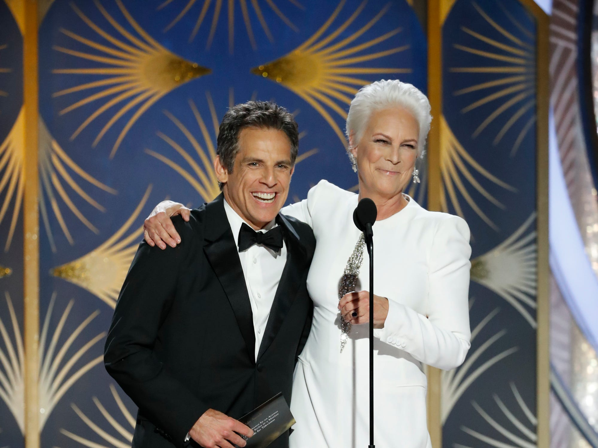 This image released by NBC shows presenters Ben Stiller, left, and Jamie Lee Curtis during the 76th Annual Golden Globe Awards at the Beverly Hilton Hotel.