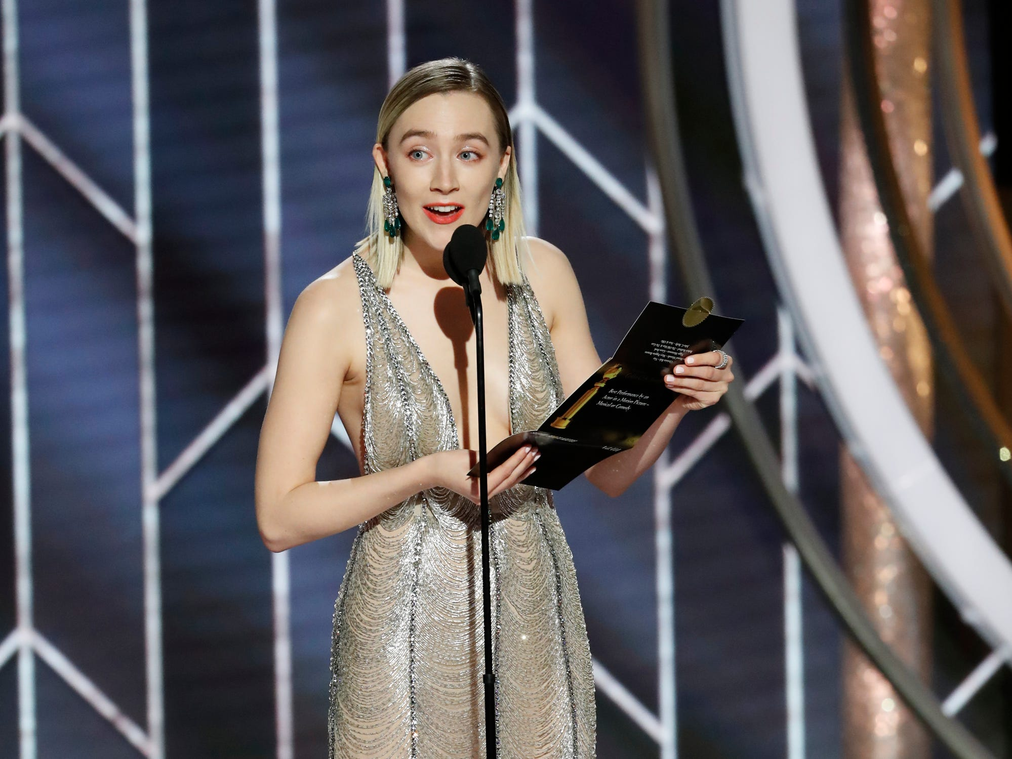 This image released by NBC shows presenter Saoirse Ronan during the 76th Annual Golden Globe Awards at the Beverly Hilton Hotel.