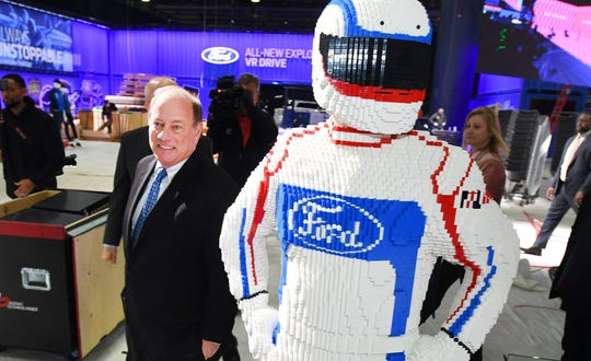 Detroit Mayor Mike Duggan takes a behind-the-scenes tour as construction continues on the North American International Auto Show at Cobo Center in Detroit on January 7, 2019.