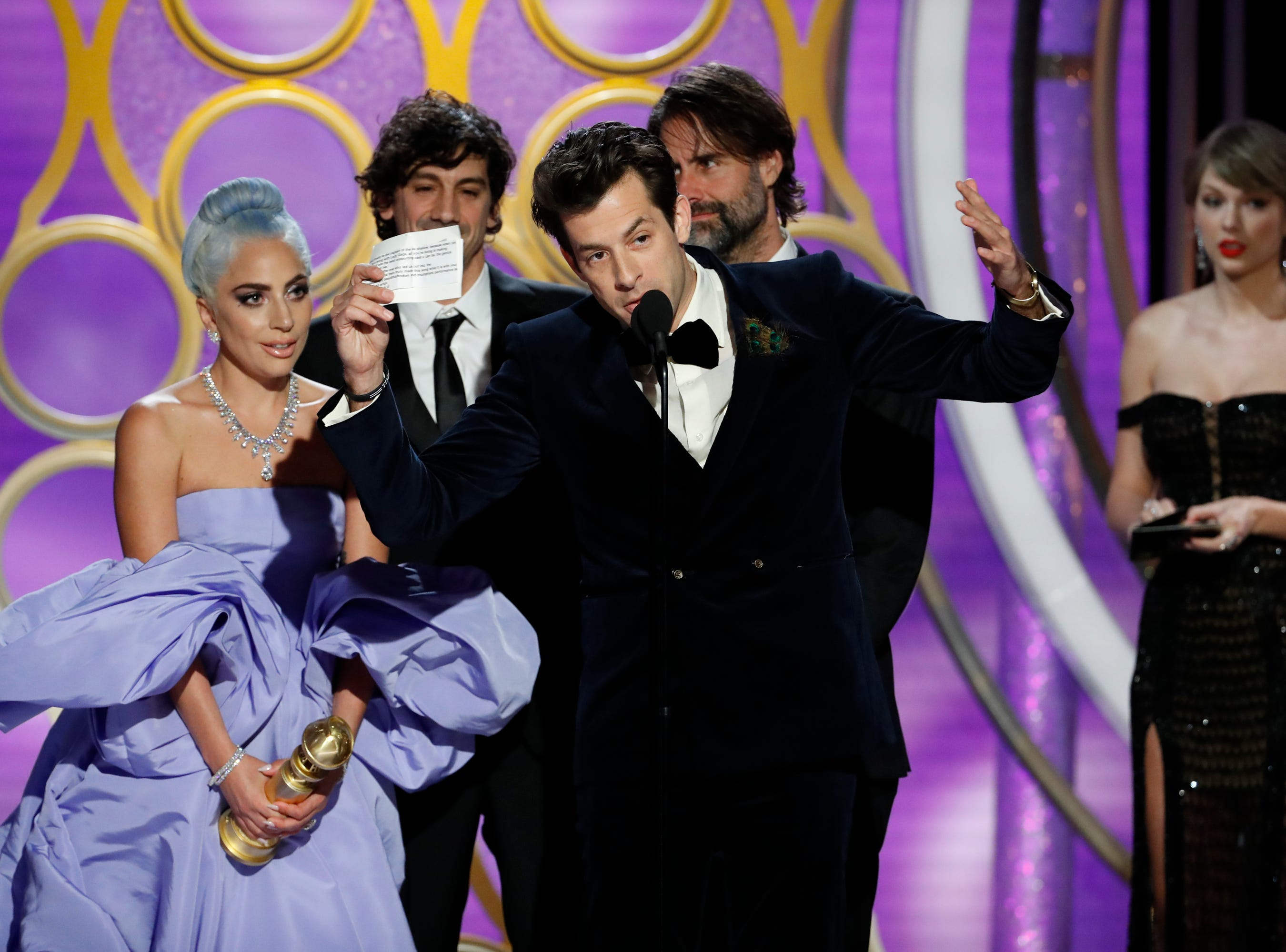 "This image released by NBC shows Lady Gaga, left, and Mark Ronson accepting the award for best original song for ""Shallow""   during the 76th Annual Golden Globe Awards at the Beverly Hilton Hotel."