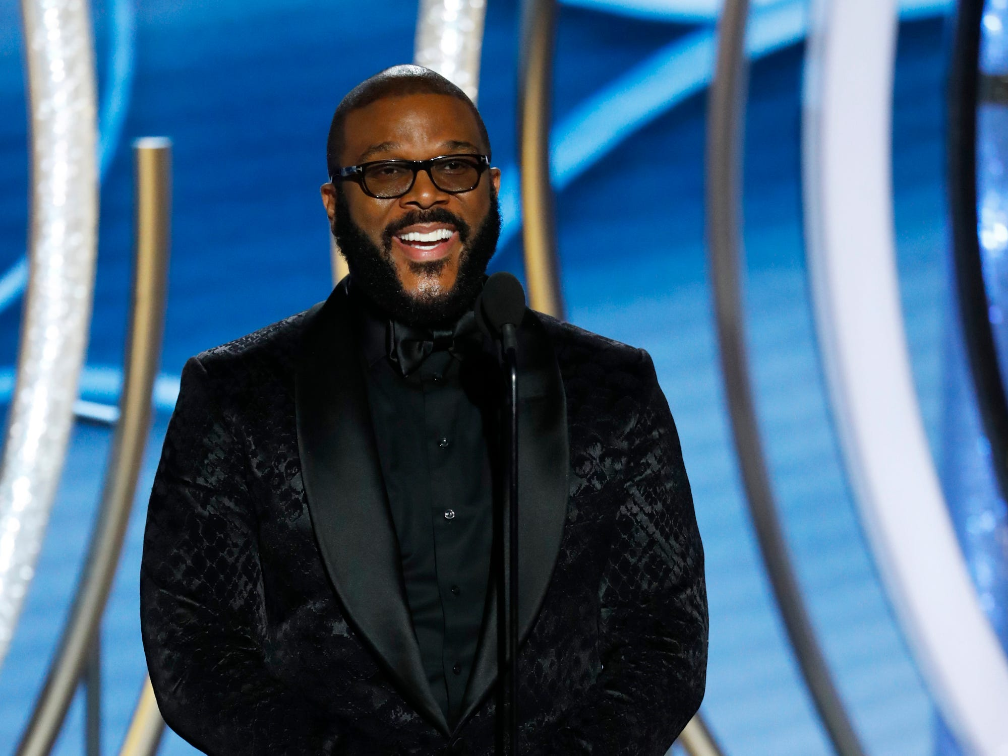 This image released by NBC shows presenter Tyler Perry during the 76th Annual Golden Globe Awards at the Beverly Hilton Hotel.