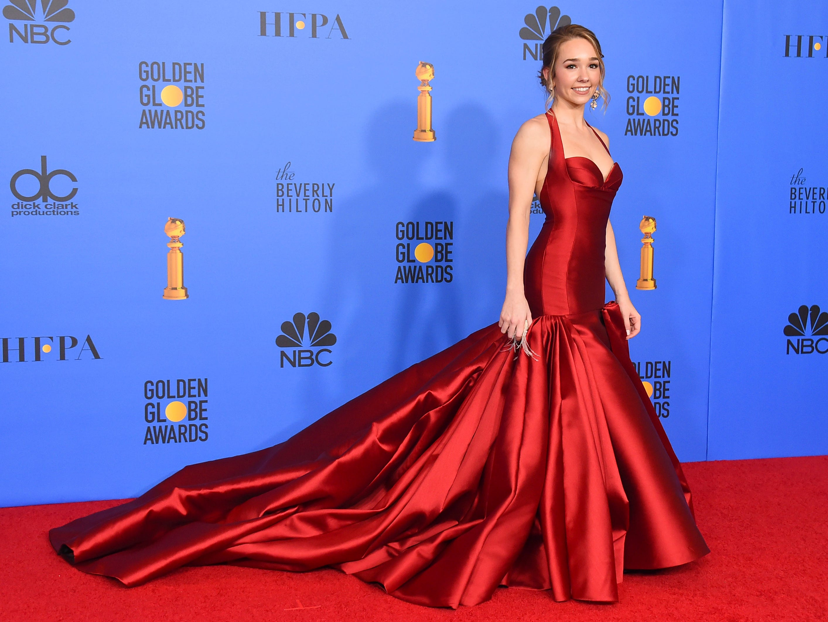 "Holly Taylor, from the cast of ""The Americans,"" winner of the award for best television series, drama, poses in the press room at the 76th annual Golden Globe Awards at the Beverly Hilton Hotel."