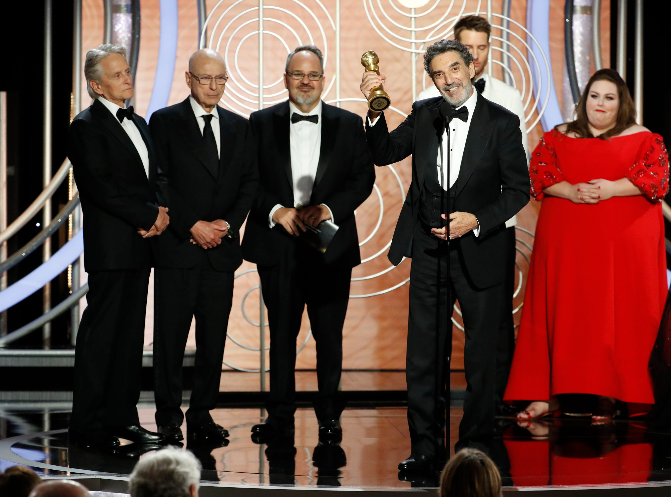 "This image released by NBC shows Chuck Lorre accepting the award for best TV comedy series for ""The Kominsky Method"" during the 76th Annual Golden Globe Awards."