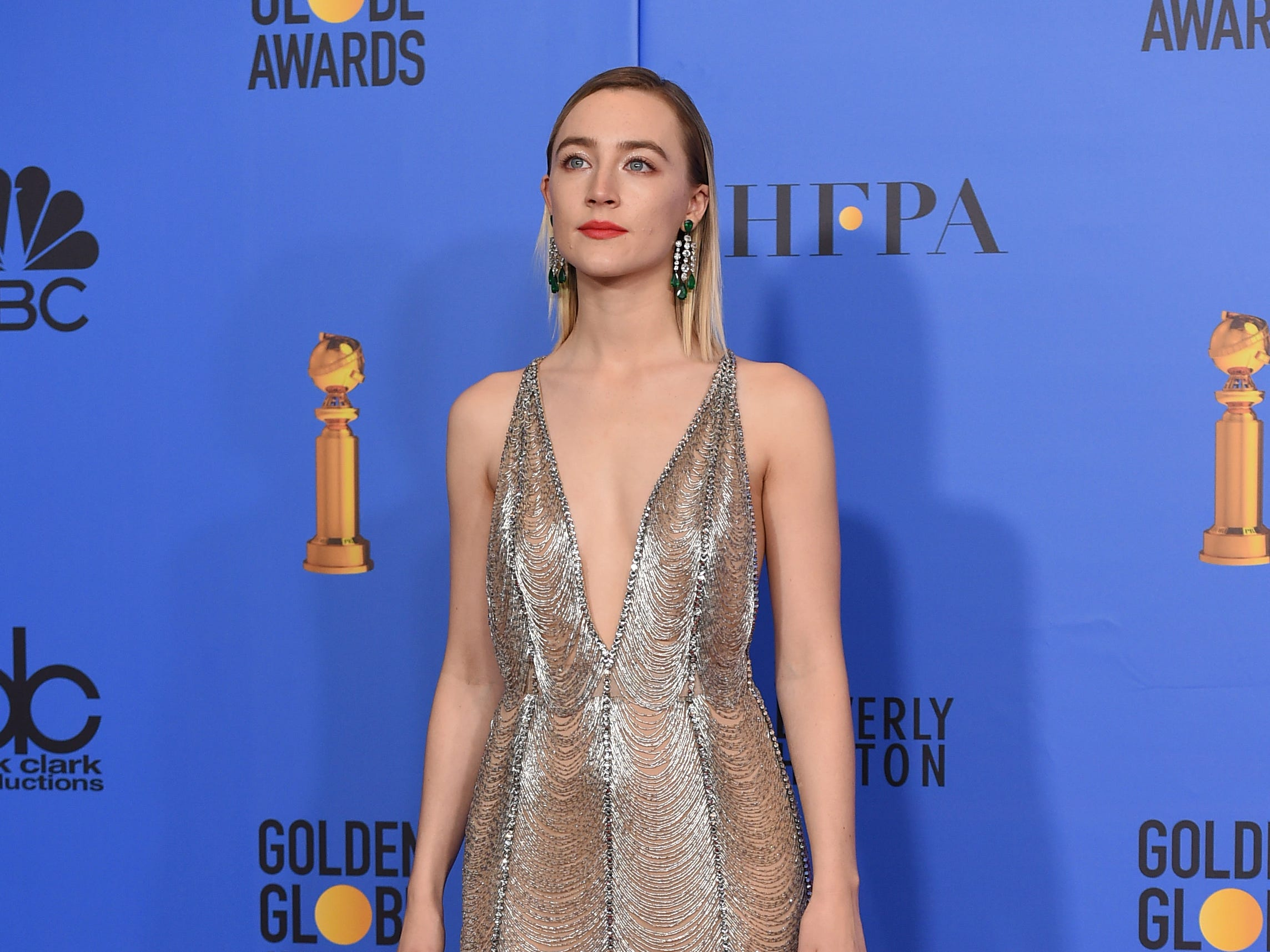 Saoirse Ronan poses in the press room at the 76th annual Golden Globe Awards at the Beverly Hilton Hotel.