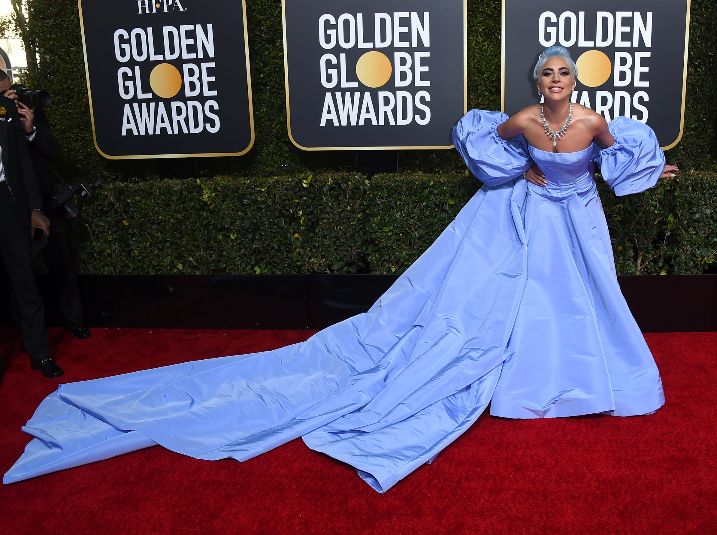 Lady Gaga arrives at the 76th annual Golden Globe Awards at the Beverly Hilton Hotel.