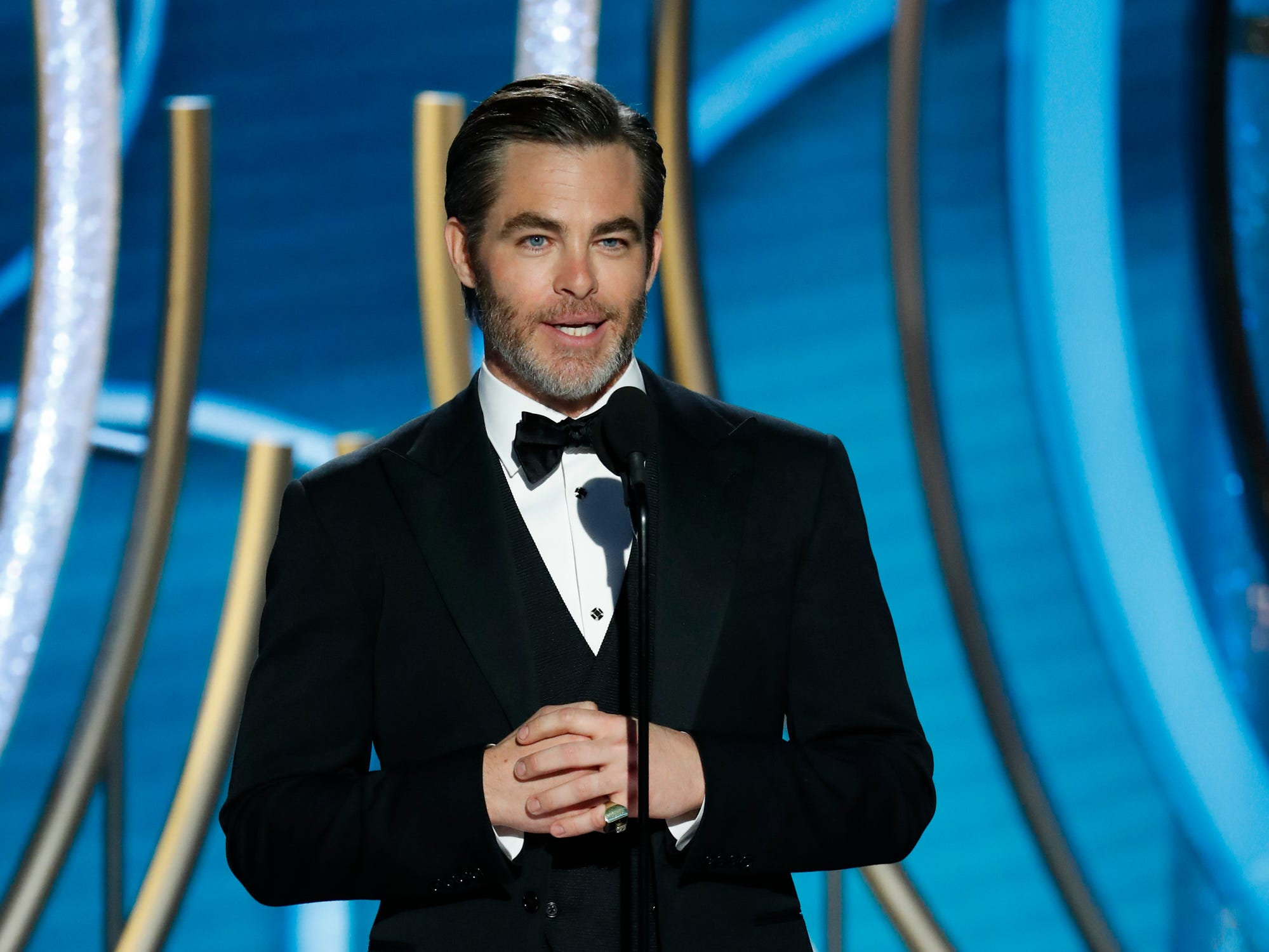 This image released by NBC shows presenter Chris Pine during the 76th Annual Golden Globe Awards at the Beverly Hilton Hotel.