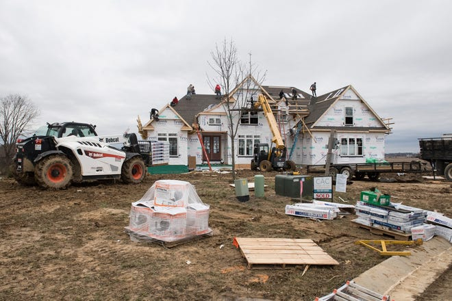 A new home being built in the Bellevue subdivision off Angel Drive by CAC Custom Homes in Warrick County Monday, Jan. 7, 2019.