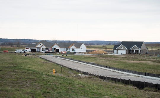New homes being built by Jagoe Homes in the Berkshire subdivision in Warrick County near Friedman Park Monday, Jan. 7, 2019.