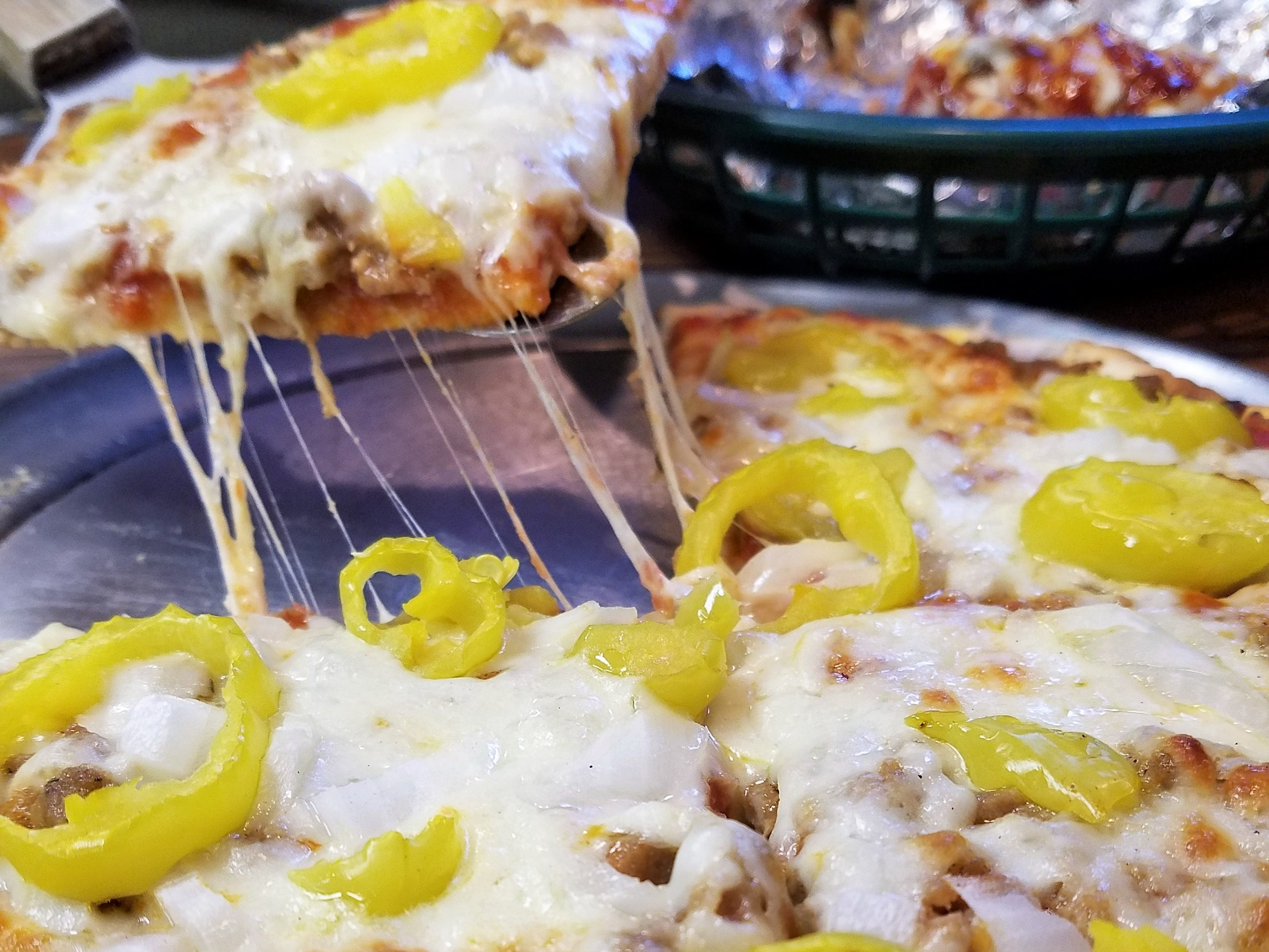 Pizza from the Lobo Lounge is made with all fresh meat on house-made crust.