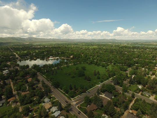 An aerial view of City Park in Fort Collins.