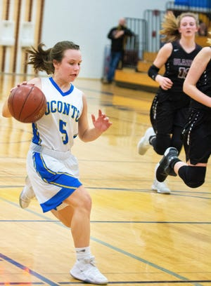 In the final minute of the Jan. 3 game with NEW Lutheran, Hallie Wusterbarth beats two Blazers down the court on a fast break opportunity.