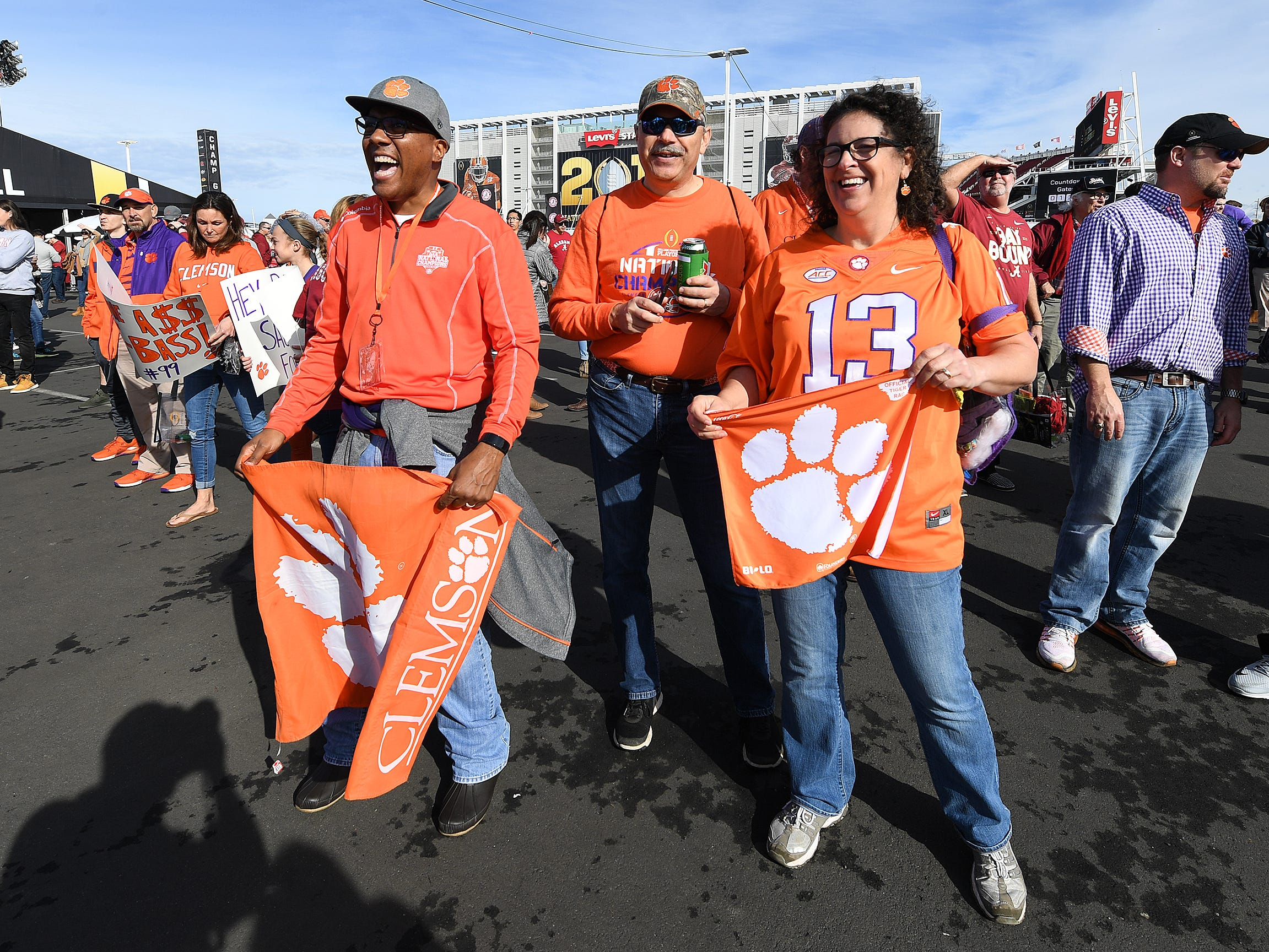 Clemson fans during the College Football Championship Playoff Tailgate outside Levi's Stadium in Santa Clara, CA Monday, January 7, 2019.