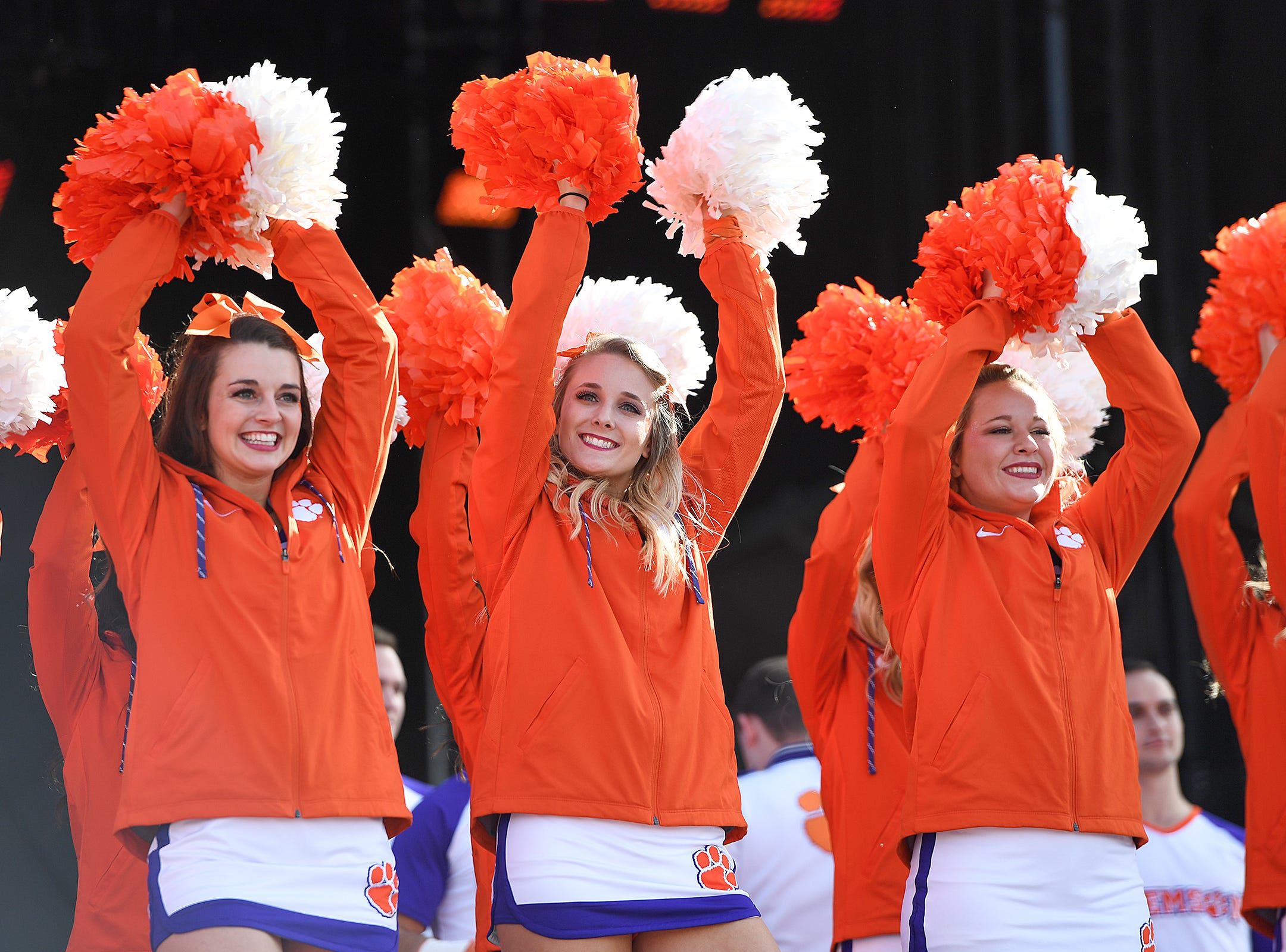 Clemson cheerleaders during the College Football Championship Playoff Tailgate outside Levi's Stadium in Santa Clara, CA Monday, January 7, 2019.