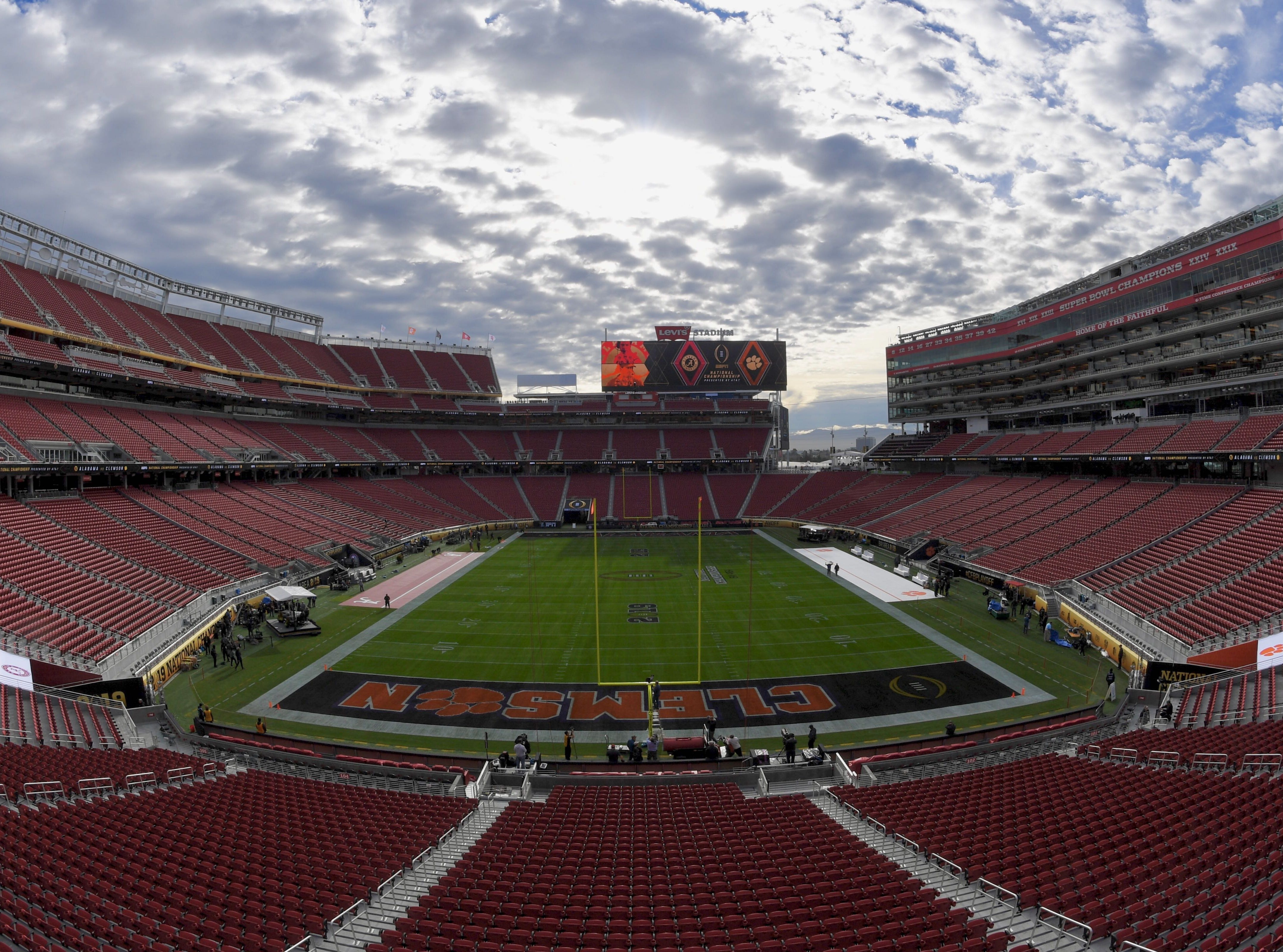 Sunshine filters through the clouds at Levi's Stadium in Santa Clara, California, on Monday, Dec. 7, 2018, hours before No. 2 Clemson and No. 1 Alabama battle in the National Championship Game of the College Football Playoff.