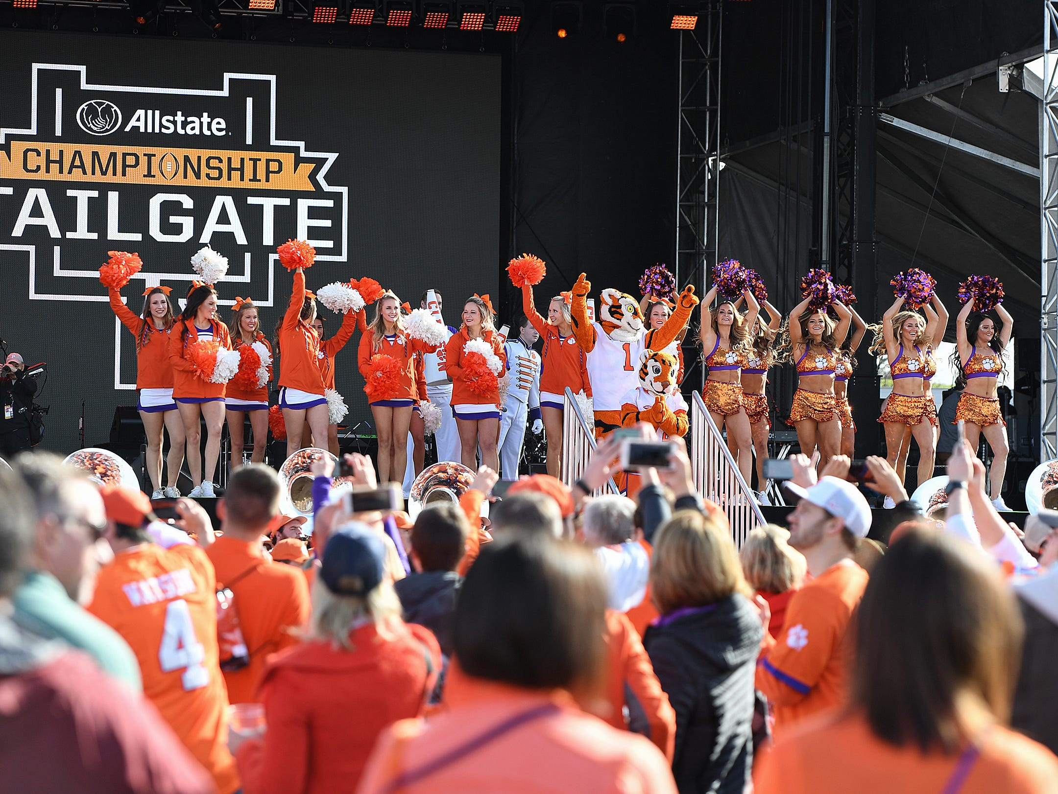 Clemson's cheerleaders and Rally Cats during the College Football Championship Playoff Tailgate outside Levi's Stadium in Santa Clara, CA Monday, January 7, 2019.