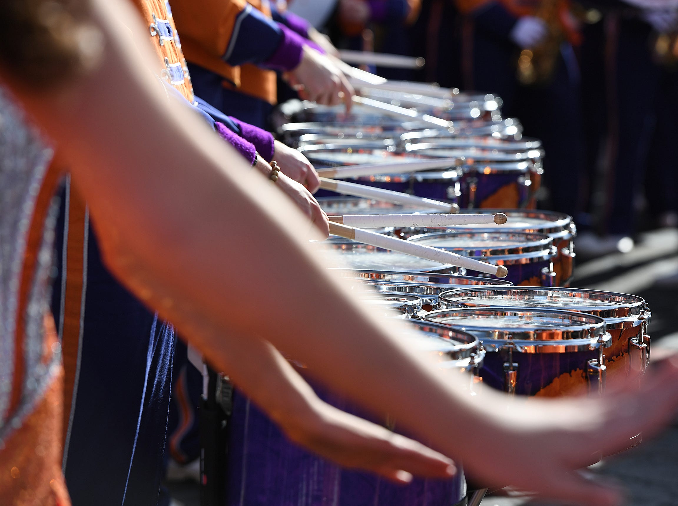 Clemson,s band plays during the College Football Championship Playoff Tailgate outside Levi's Stadium in Santa Clara, CA Monday, January 7, 2019.
