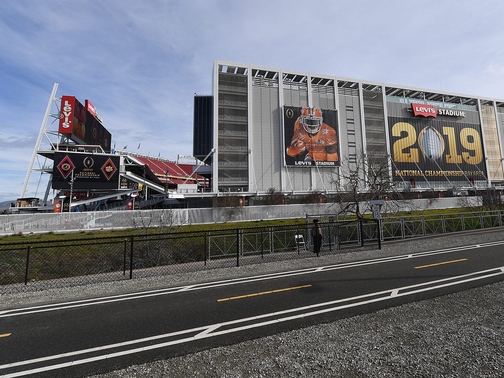 Levi's Stadium in Santa Clara, CA is decorated for the College Football National Championship Monday, January 7, 2019.