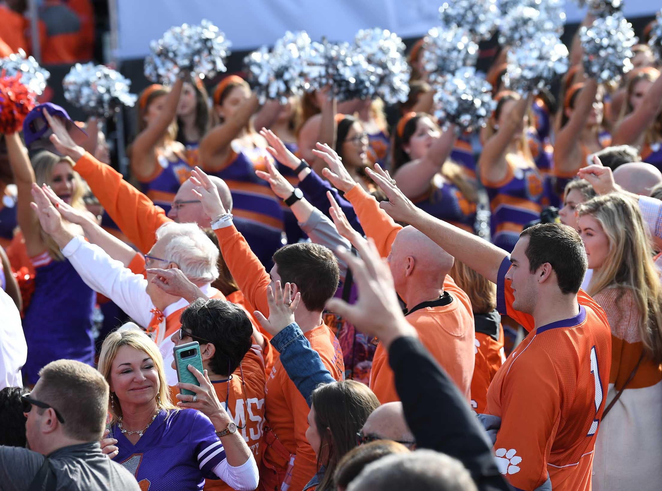 Clemson fans participate at the College Football Championship Playoff Tailgate outside Levi's Stadium in Santa Clara, California Monday, January 7, 2019.