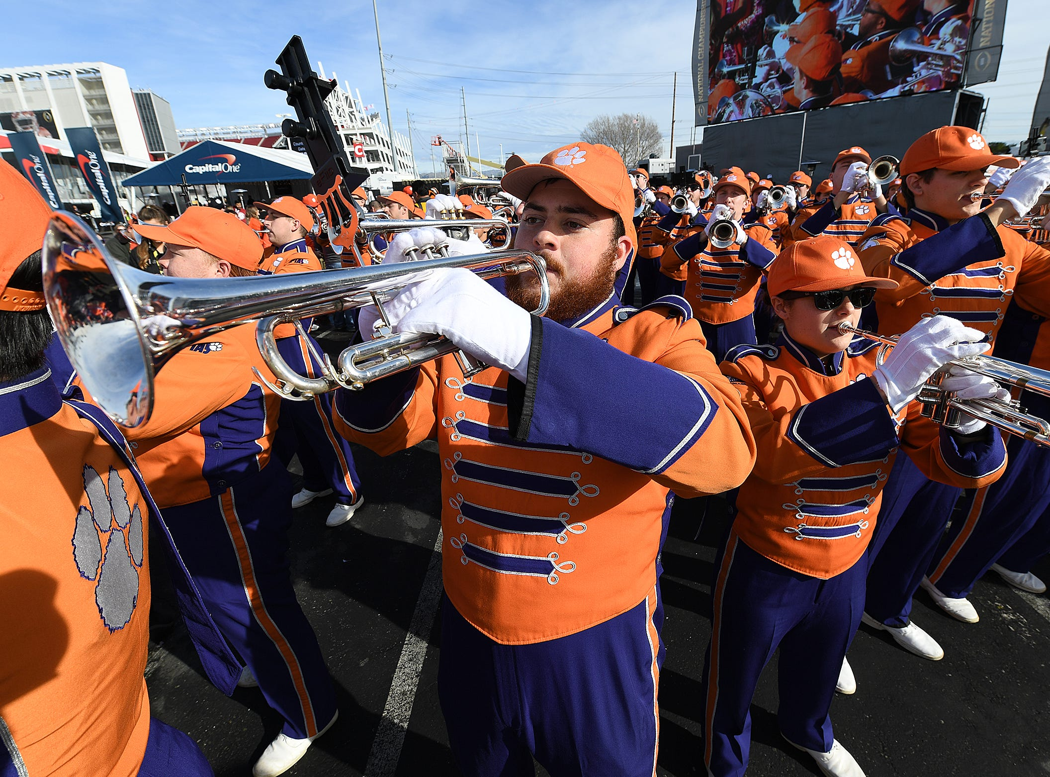 Clemson's band during the College Football Championship Playoff Tailgate outside Levi's Stadium in Santa Clara, CA Monday, January 7, 2019.