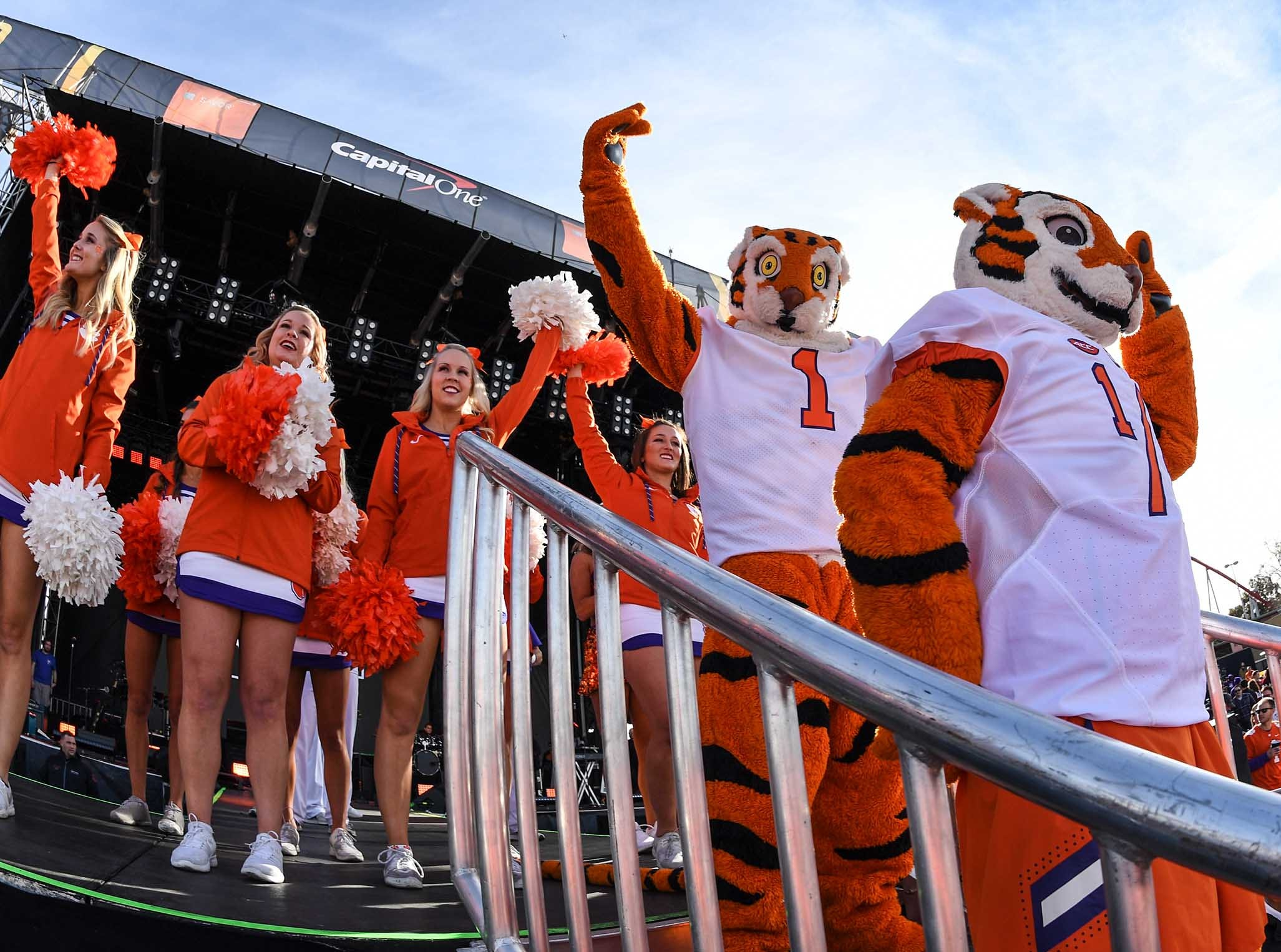Clemson Tiger Band, cheerleaders, Tiger Dancers, twirlers, Rally Cats and fans at the College Football Championship Playoff Tailgate outside Levi's Stadium in Santa Clara, California Monday, January 7, 2019.