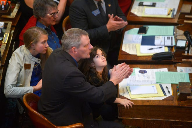 Rep. Carl Glimm, R-Kila, and other Montana legislators were joined by family members on the House floor on first day of 2019 Legislative Session in Helena on Monday.