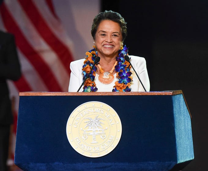 Gov. Lou Leon Guerrero is all smiles while delivering her inaugural address during the 13th Gubernatorial Inauguration at the University of Guam Calvo Field House, Jan. 7, 2019. Thousands of people, including past governors and lieutenant governors, attended to witness Leon Guerrero inaugurated as the first-ever female governor of Guam.