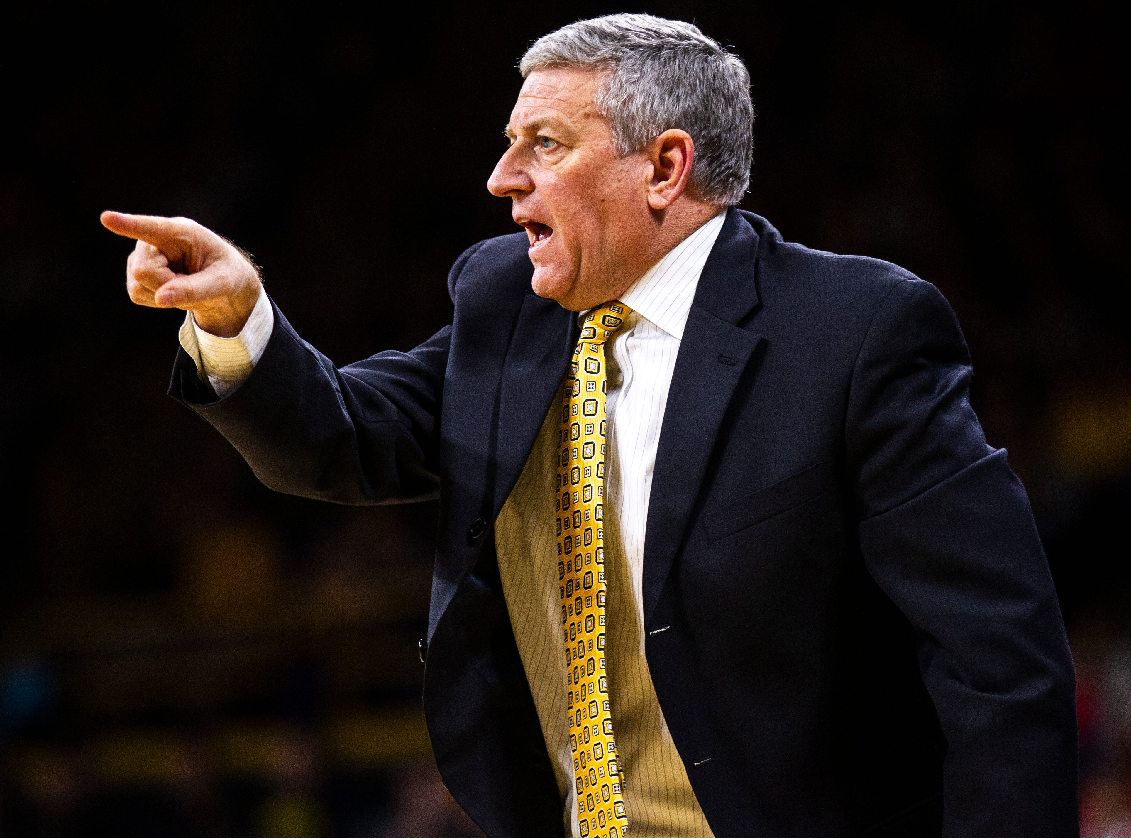 Iowa assistant Kirk Speraw calls out to players during a NCAA Big Ten Conference men's basketball game on Sunday, Jan. 6, 2019, at the Carver-Hawkeye Arena in Iowa City, Iowa.