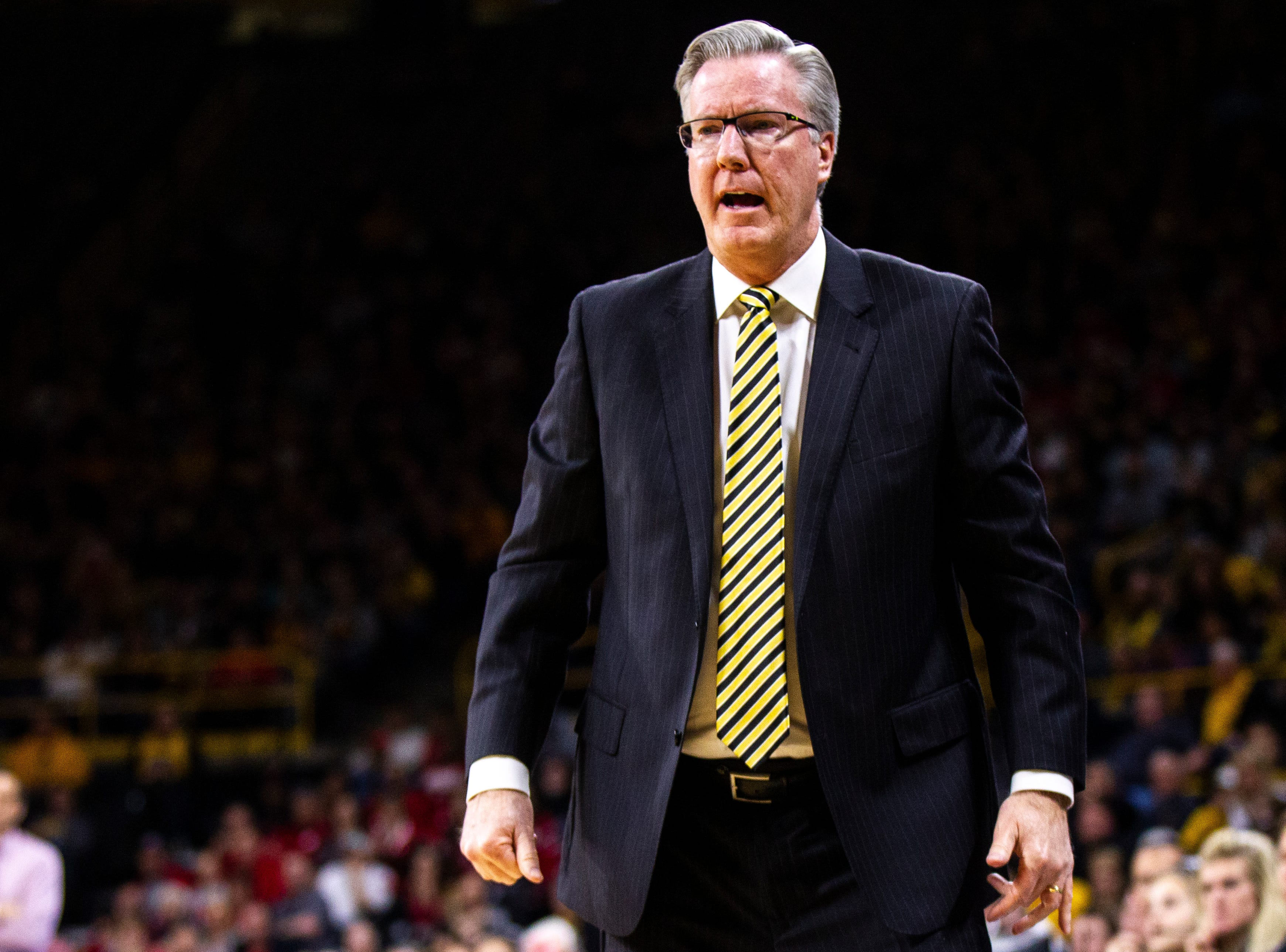 Iowa men's basketball head coach Fran McCaffery calls out to players during a NCAA Big Ten Conference men's basketball game on Sunday, Jan. 6, 2019, at the Carver-Hawkeye Arena in Iowa City, Iowa.