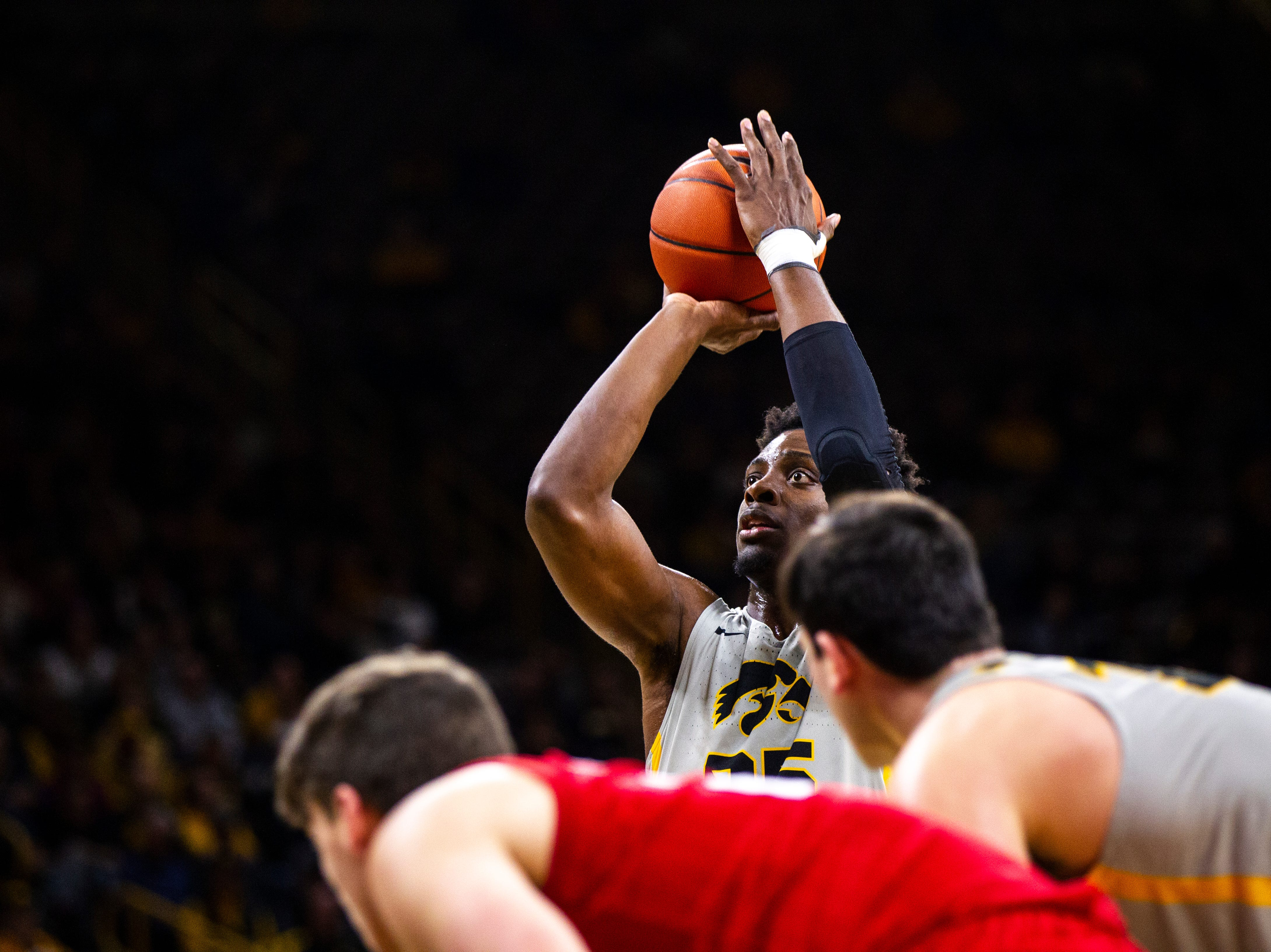 Iowa forward Tyler Cook (25) attempts a free-throw during a NCAA Big Ten Conference men's basketball game on Sunday, Jan. 6, 2019, at the Carver-Hawkeye Arena in Iowa City, Iowa.