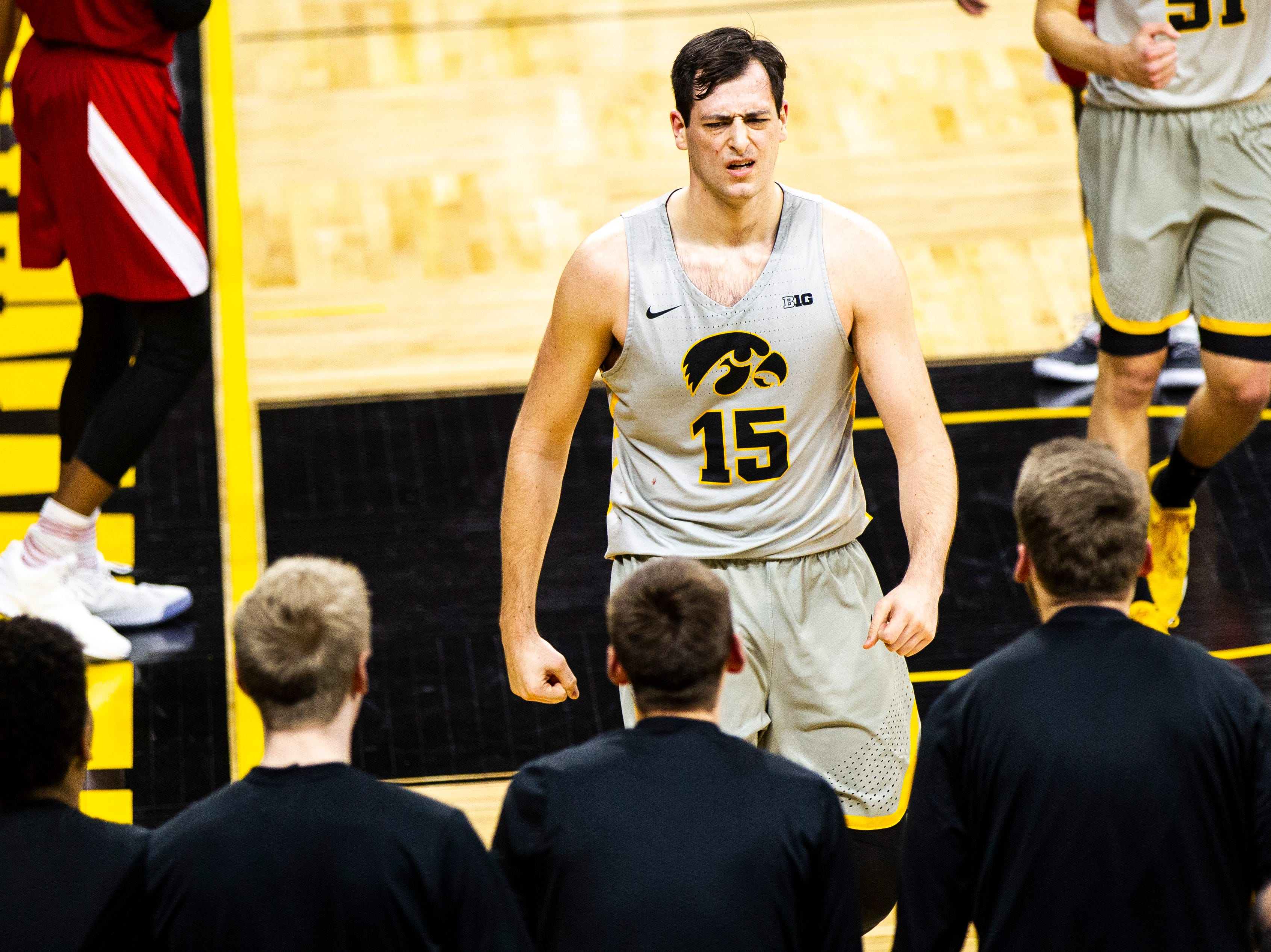 Iowa forward Ryan Kriener (15) reacts after drawing a foul during a NCAA Big Ten Conference men's basketball game on Sunday, Jan. 6, 2019, at the Carver-Hawkeye Arena in Iowa City, Iowa.