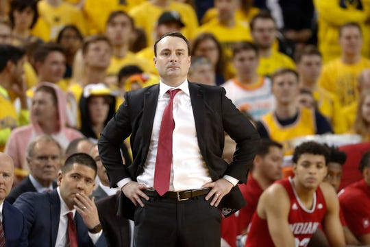 Indiana head coach Archie Miller watches in the first half of an NCAA college basketball game against Michigan in Ann Arbor, Mich., Sunday, Jan. 6, 2019.