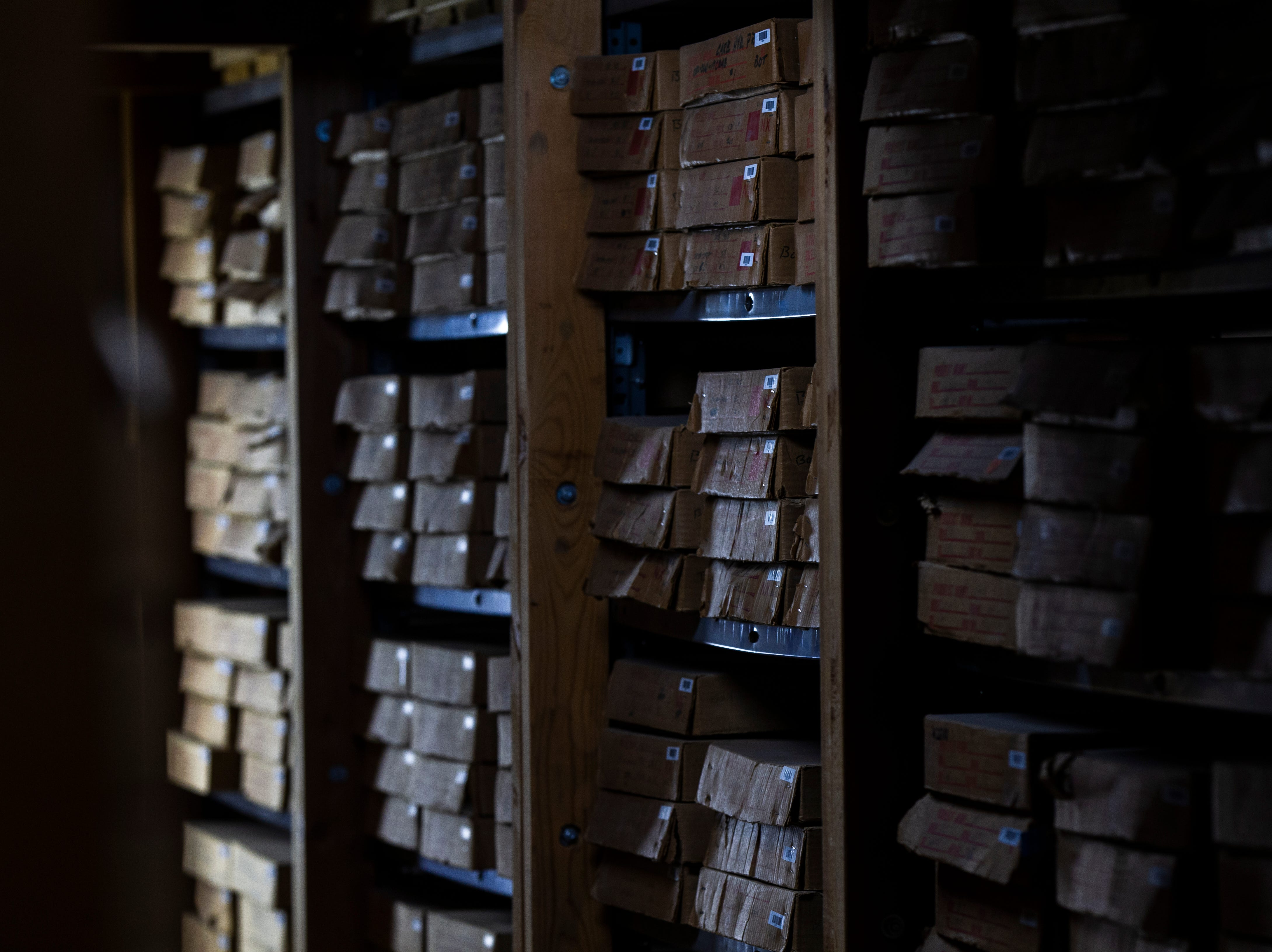An aisle of the library of rock core samples is seen on Monday, Jan. 7, 2019, at the Iowa Geological Survey offices in the at UI Oakdale Research Campus in Coralville, Iowa.