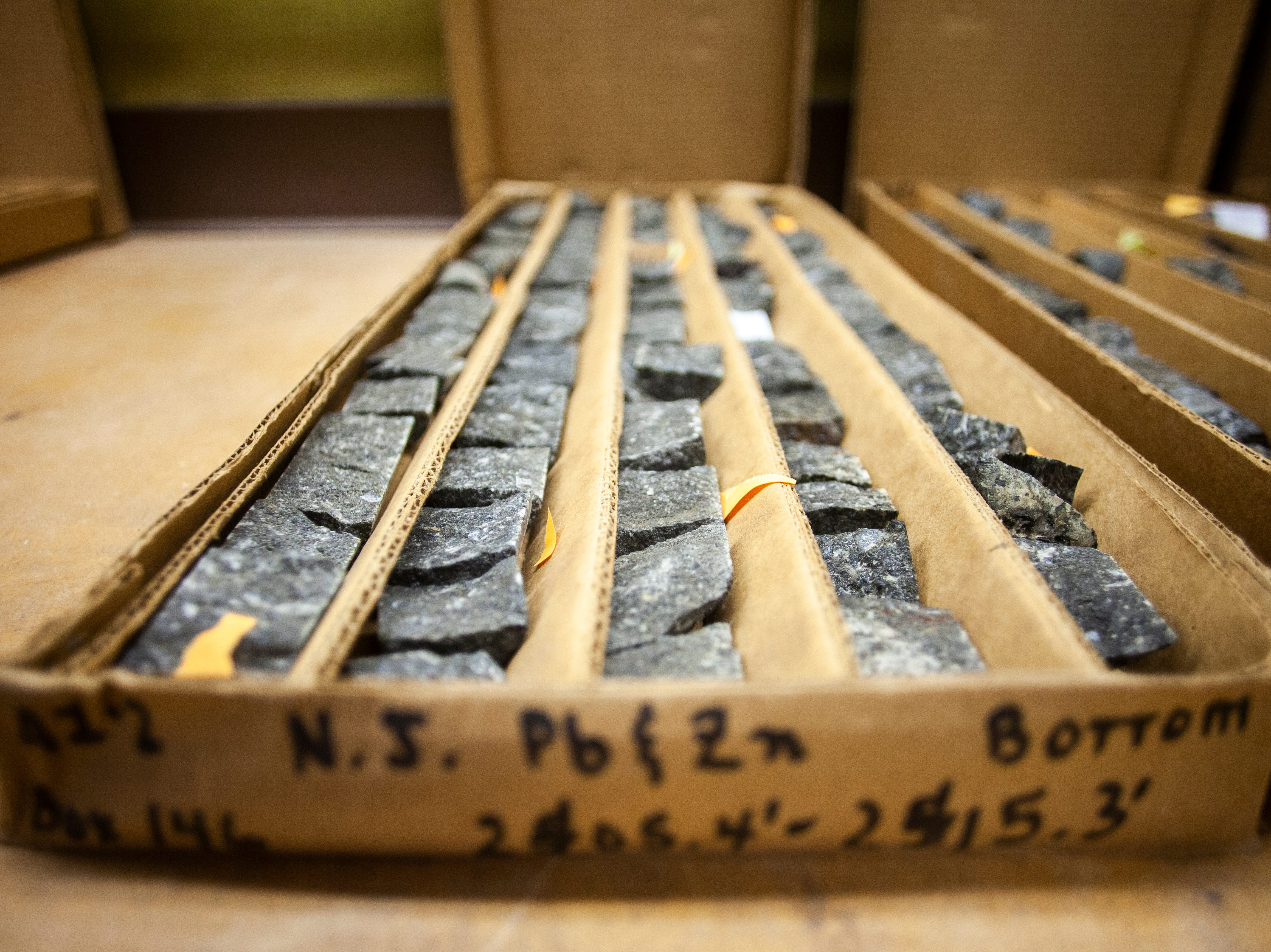 Halves of core samples taken in northeast Iowa at 2000 feet are seen on Monday, Jan. 7, 2019, at his office in the at UI Oakdale Research Campus in Coralville, Iowa.