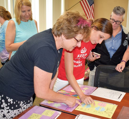 Tioga Hills Elementary teachers Susan Nunes, third grade, and Kara Talbut, second grade, look at samples that their peers created for their Writing Toolkits during a workshop in August 2018.