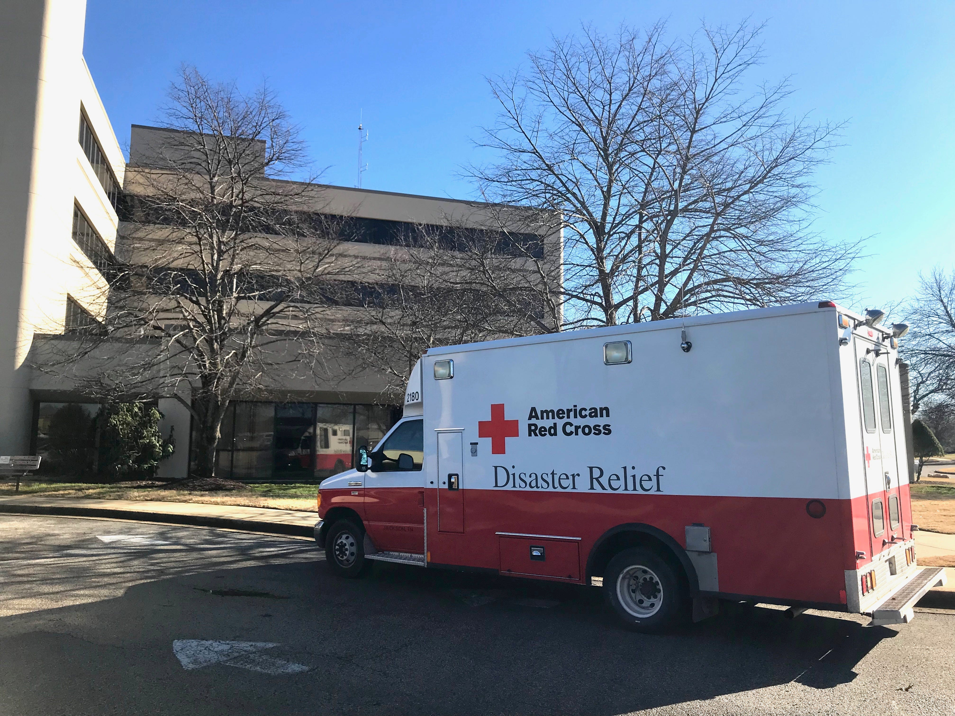 An American Red Cross Disaster Relief vehicle parks outside the West Tennessee Healthcare North Hospital at a Red Cross recruitment event in Jackson on Saturday.