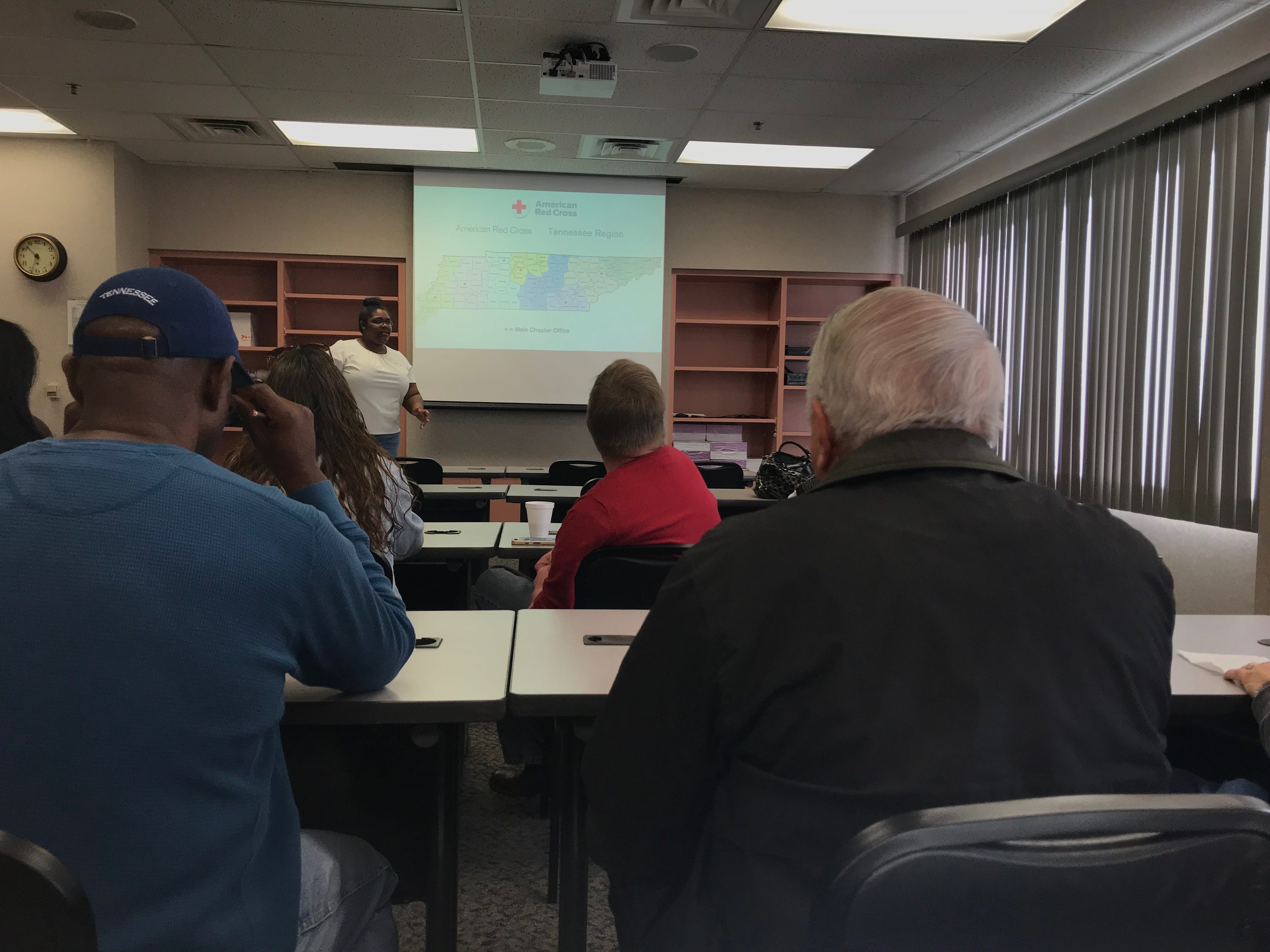 American Red Cross Volunteer Recruitment Specialist Karlescia Brookins explains Red Cross Tennessee chapters to potential new recruits at a recruitment event in Jackson on Saturday.