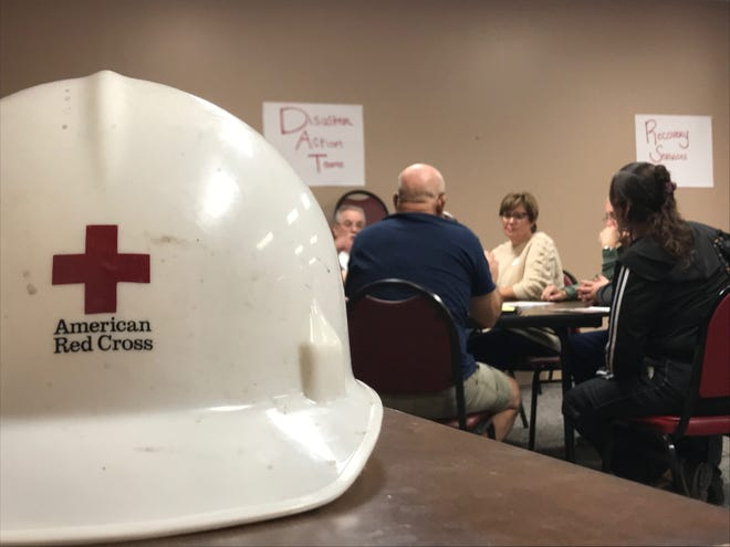 Attendees learn about services offered by the American Red Cross and ways to volunteer at a recruitment event in Jackson on Saturday.