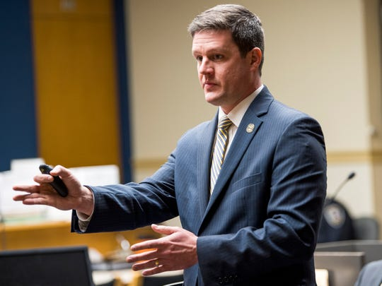 Knox County Deputy District Attorney Kyle Hixson during his opening statements during Ralpheal Coffey's trial in Knox County Criminal Court on Monday, January 7, 2019.